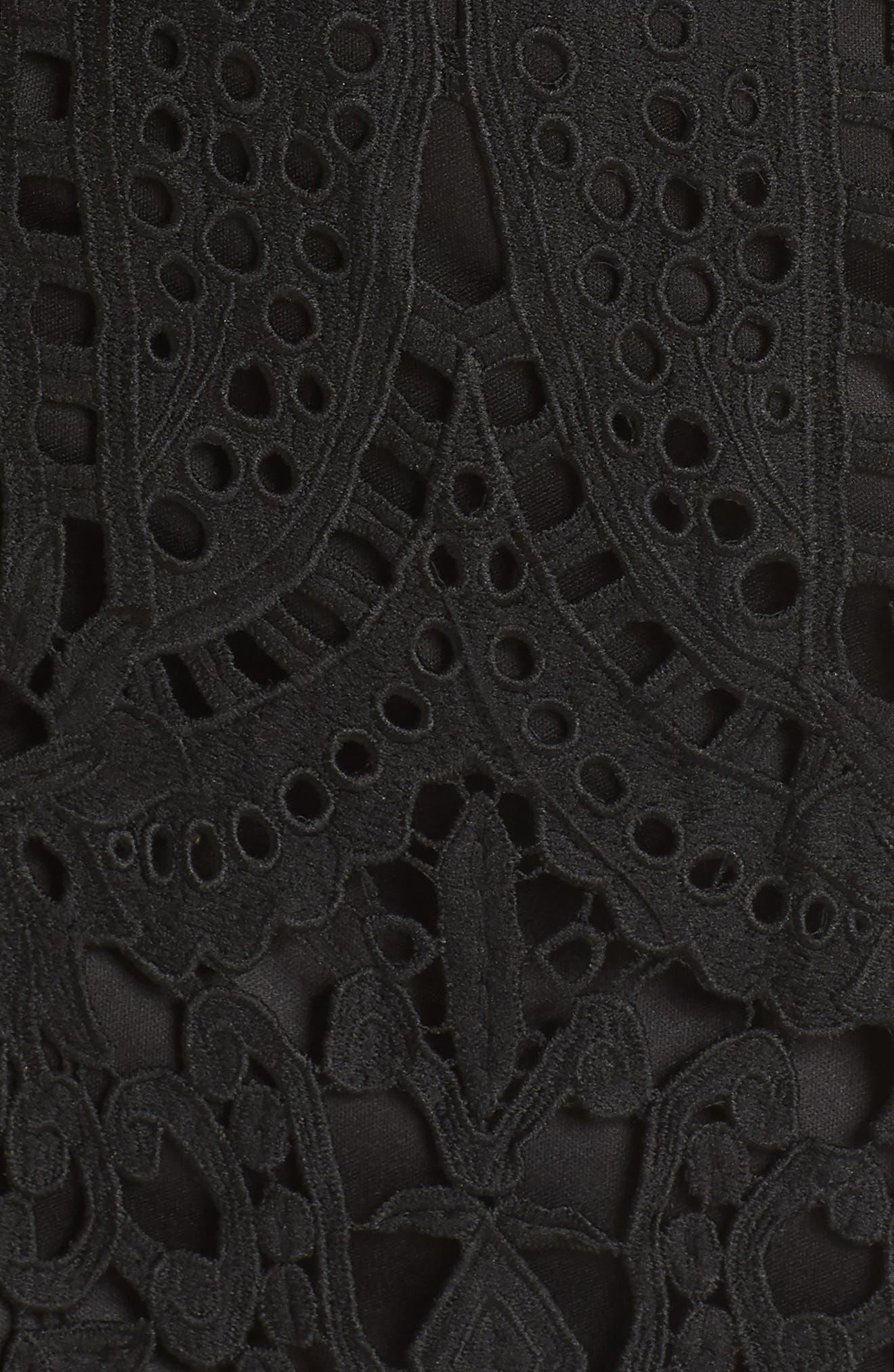 Natalie Crochet Lace Minidress,                             Alternate thumbnail 6, color,                             Black