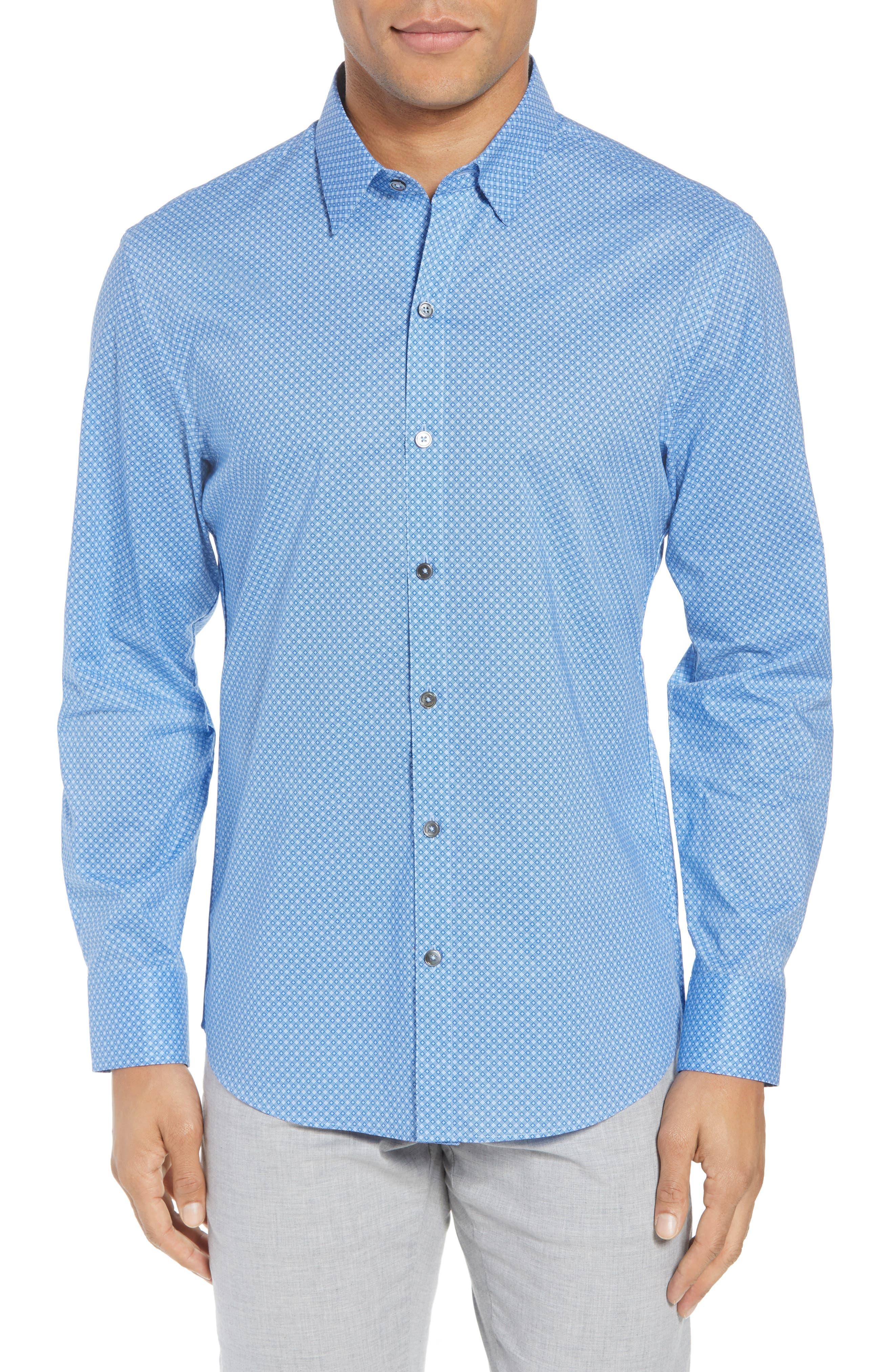 Ethan Slim Fit Sport Shirt,                         Main,                         color, Blue