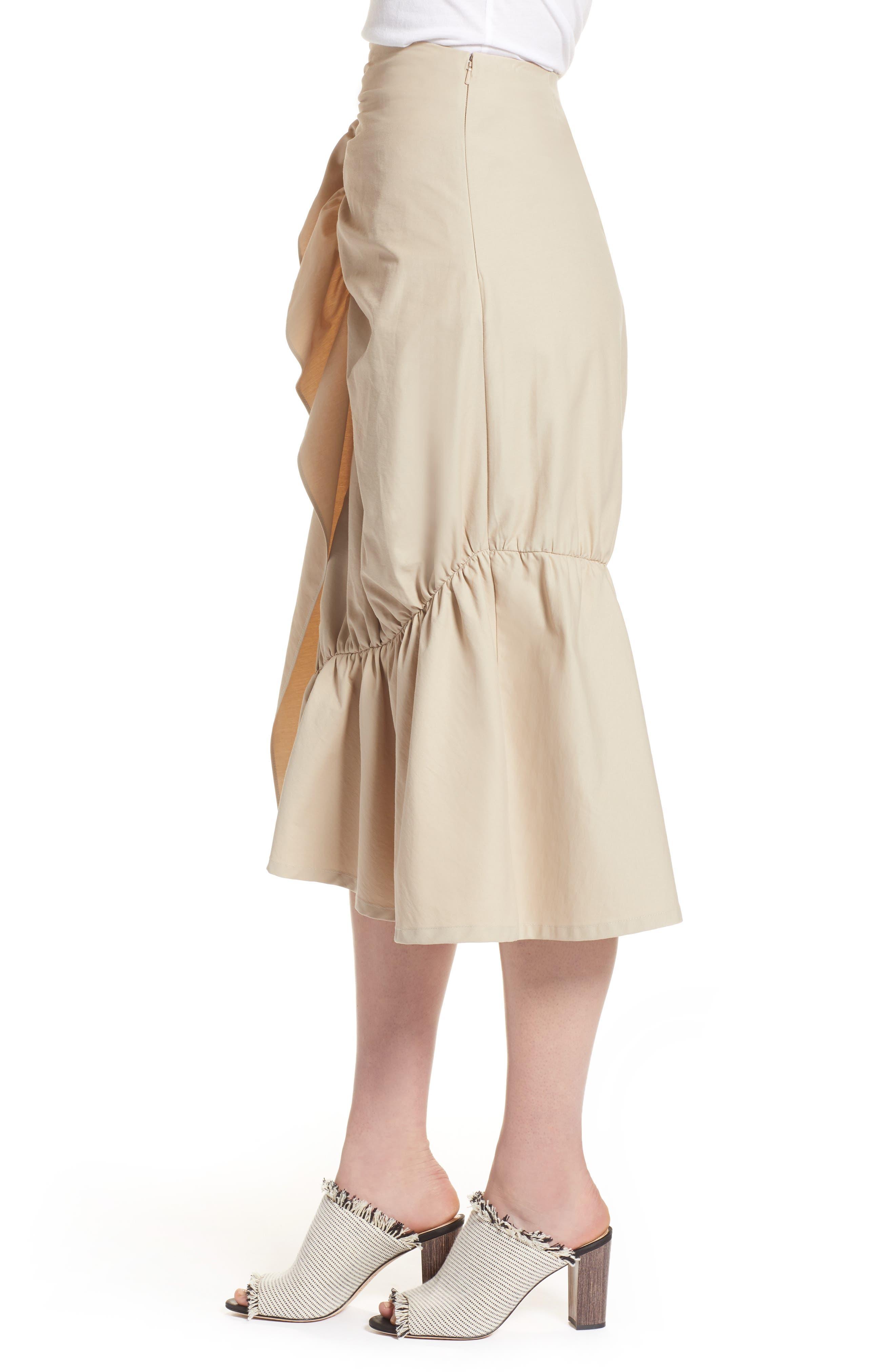 Ruffle Front Skirt,                             Alternate thumbnail 3, color,                             Tan Thread