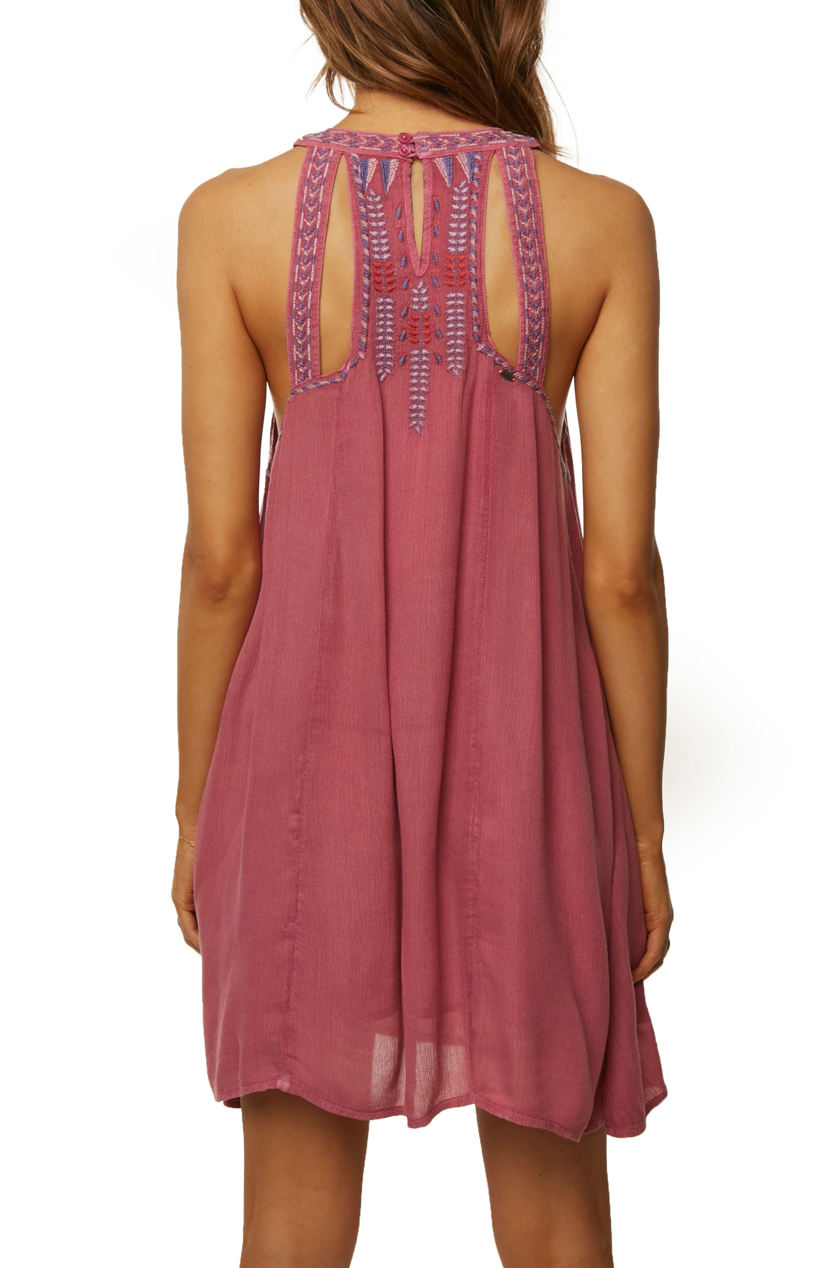 Luminous Embroidered Trapeze Dress,                             Alternate thumbnail 2, color,                             Magenta Haze