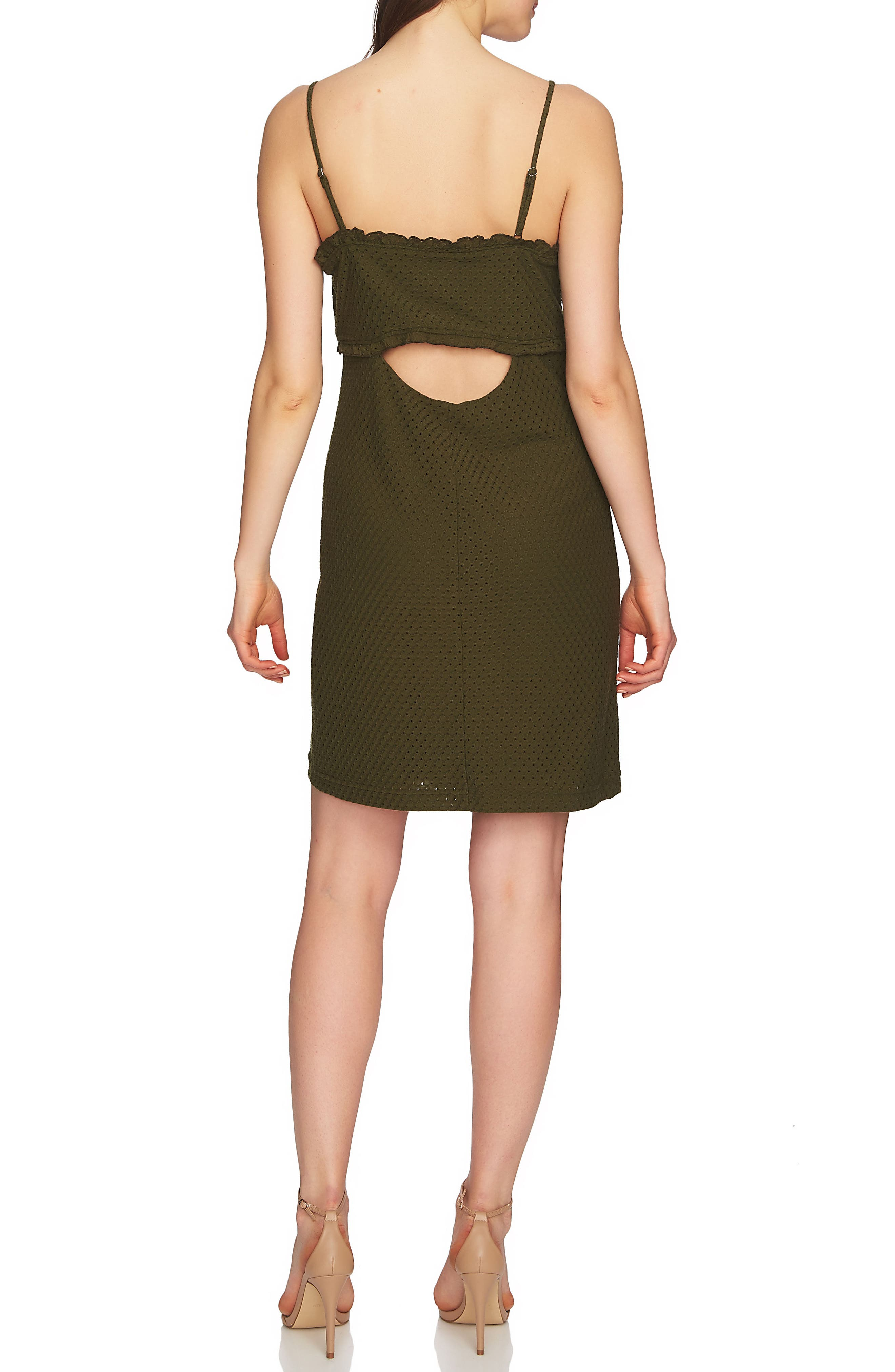 Dani Ruched Eyelet Knit Dress,                             Alternate thumbnail 2, color,                             Palm Frond