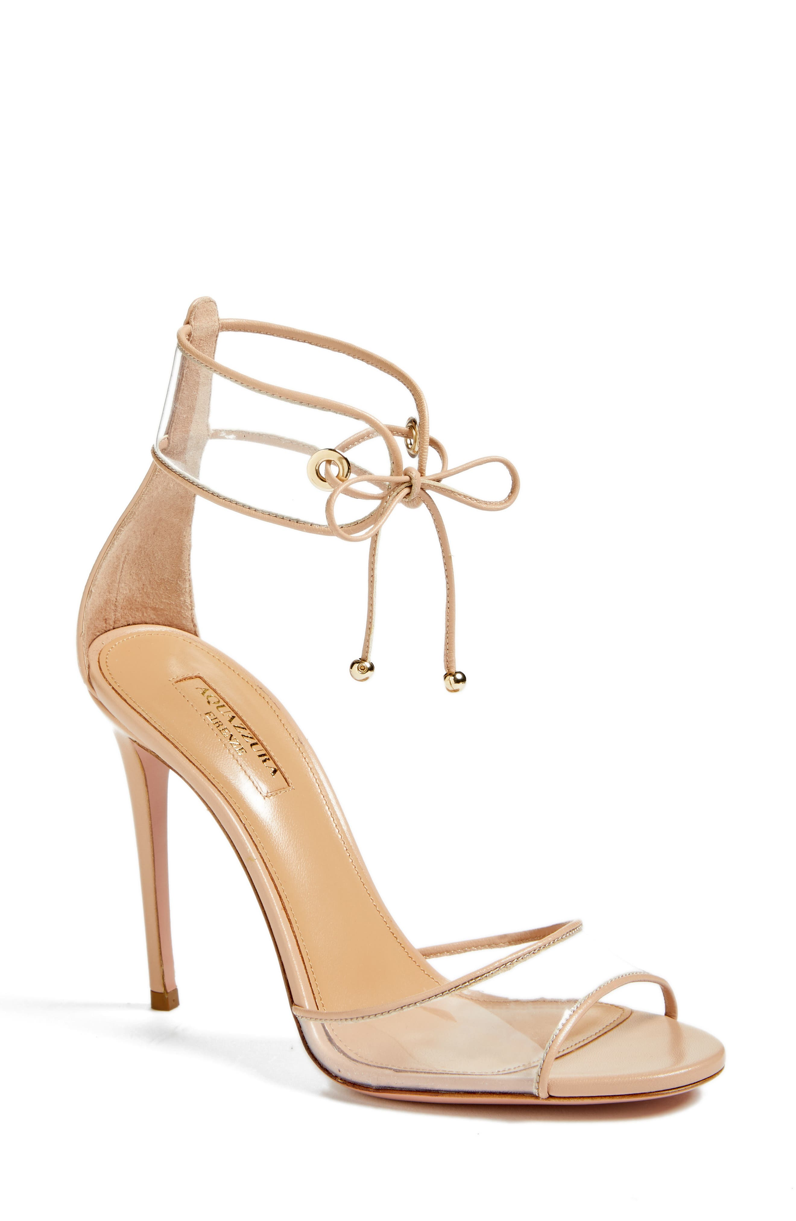 Optic Clear Ankle Tie Sandal,                         Main,                         color, Powder Pink