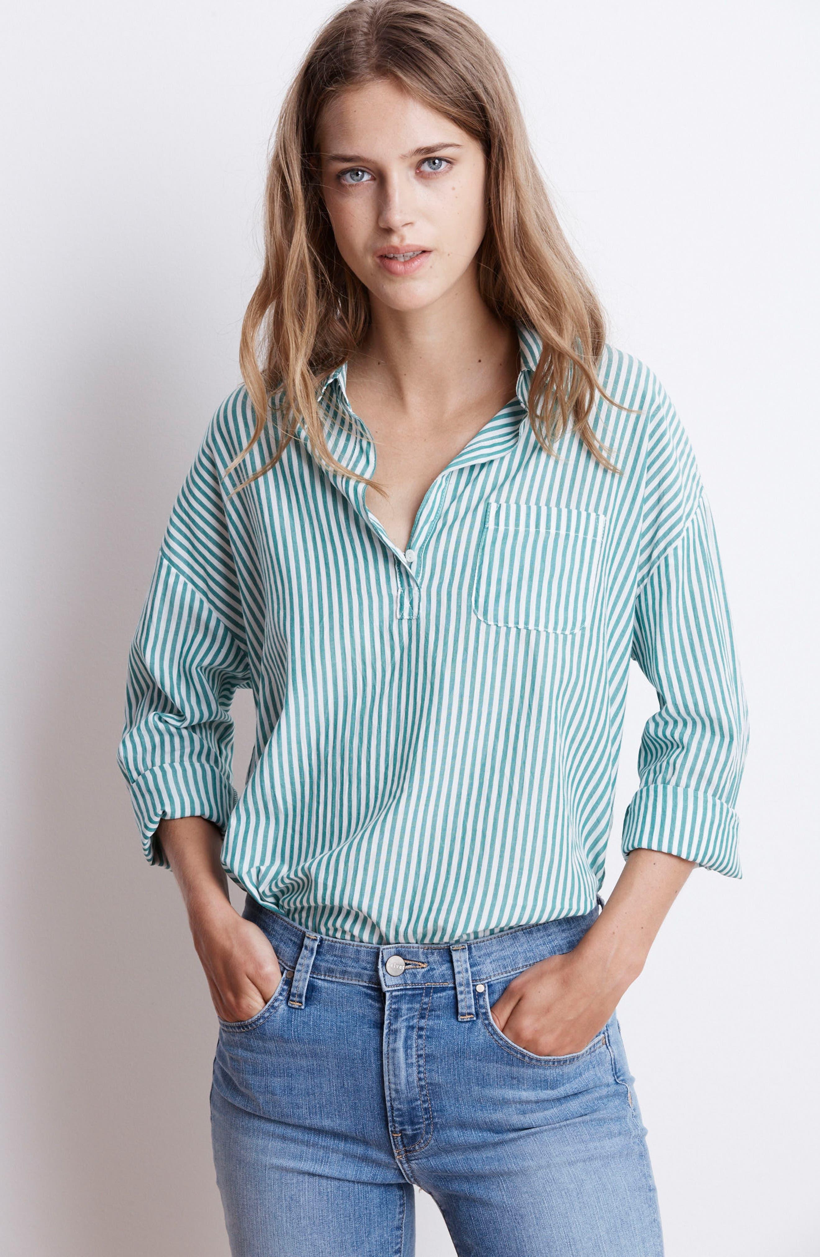 Popover Stripe Cotton Shirt,                             Alternate thumbnail 2, color,                             Green