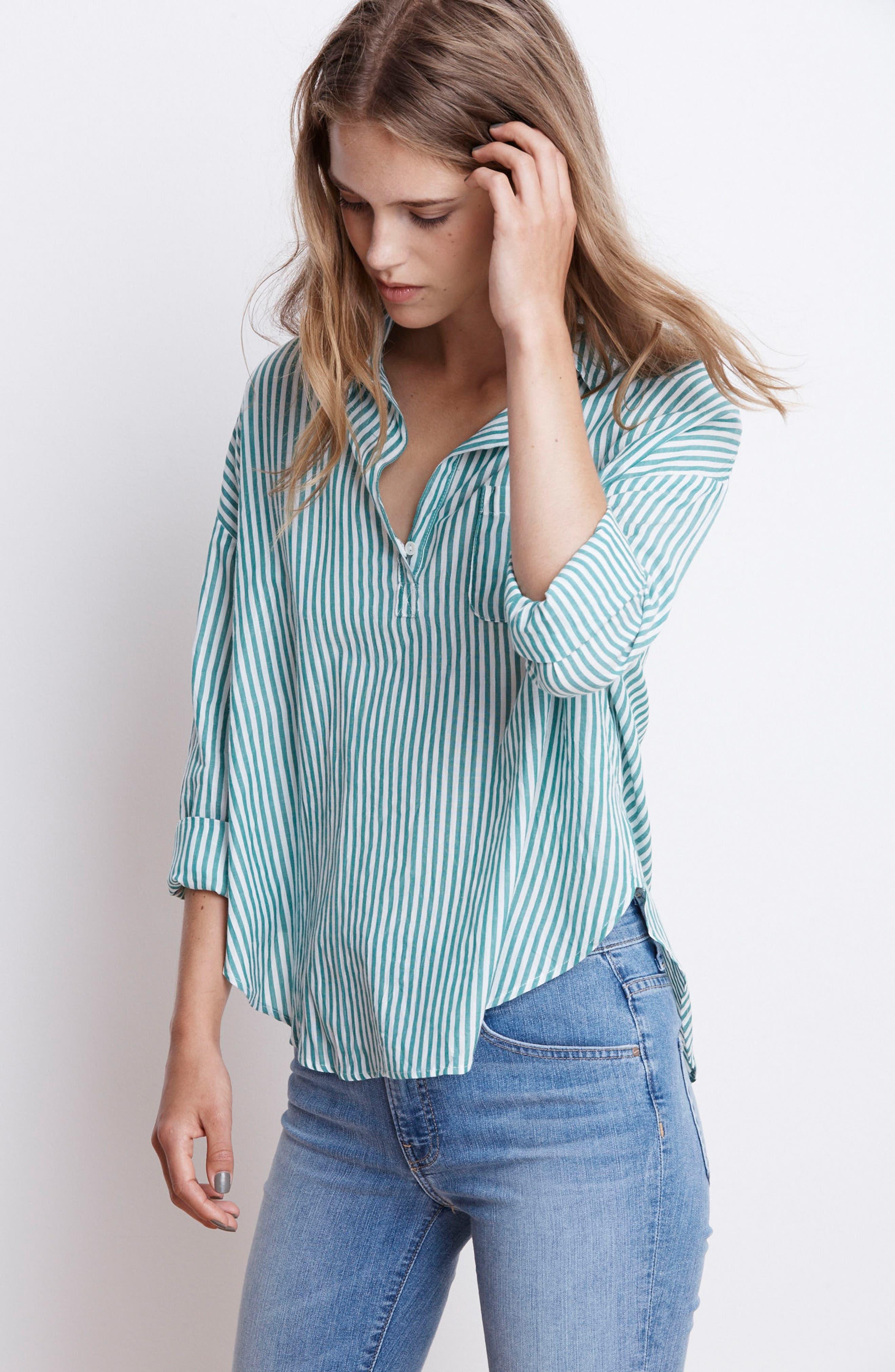 Popover Stripe Cotton Shirt,                             Alternate thumbnail 8, color,                             Green