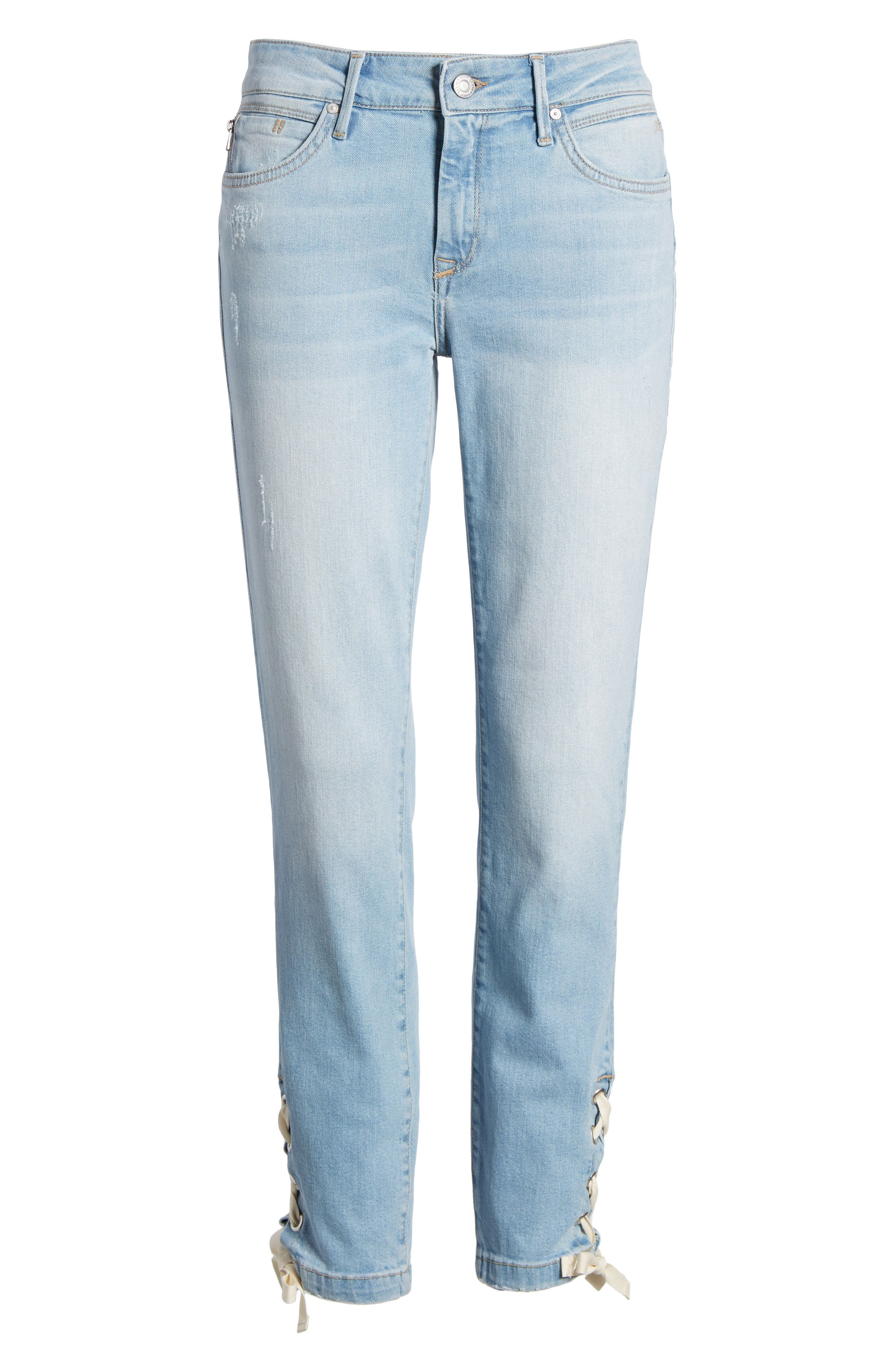 Adriana Laced Ankle Skinny Jeans,                             Alternate thumbnail 7, color,                             Bleach Summer Lace