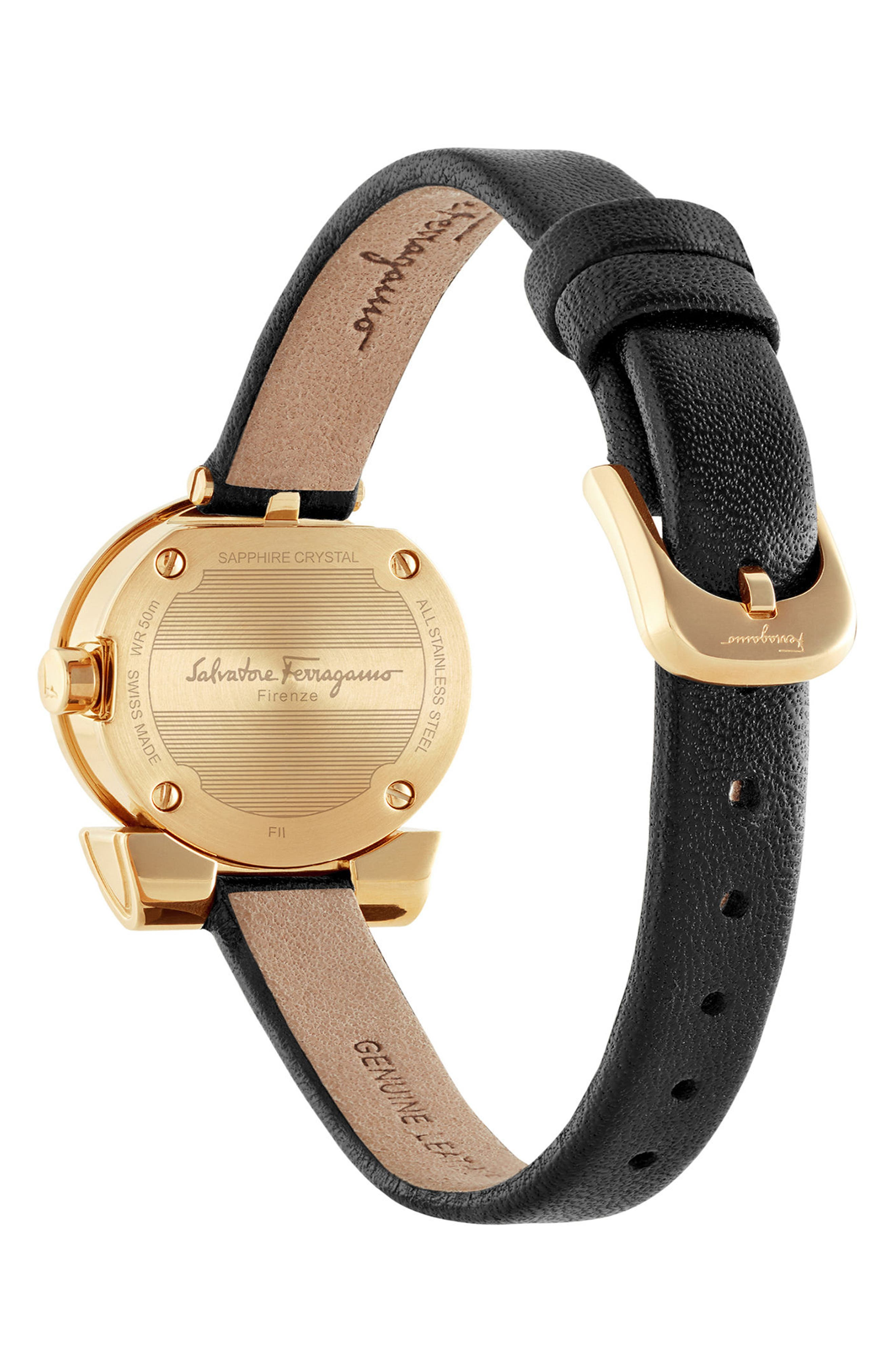 Gancino Leather Bracelet Watch, 22mm,                             Alternate thumbnail 2, color,                             Black/ Silver/ Gold