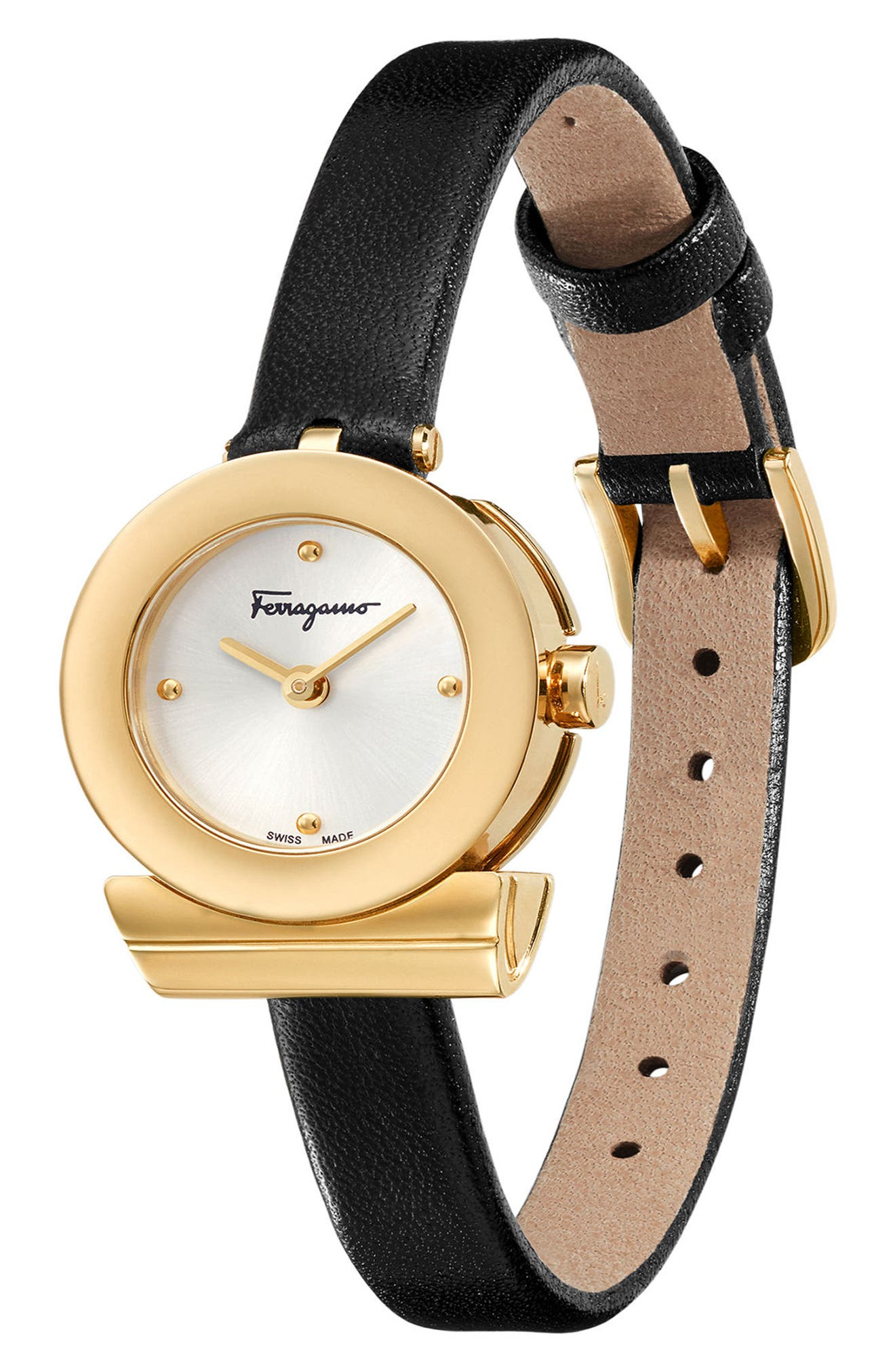 Gancino Leather Bracelet Watch, 22mm,                             Alternate thumbnail 3, color,                             Black/ Silver/ Gold