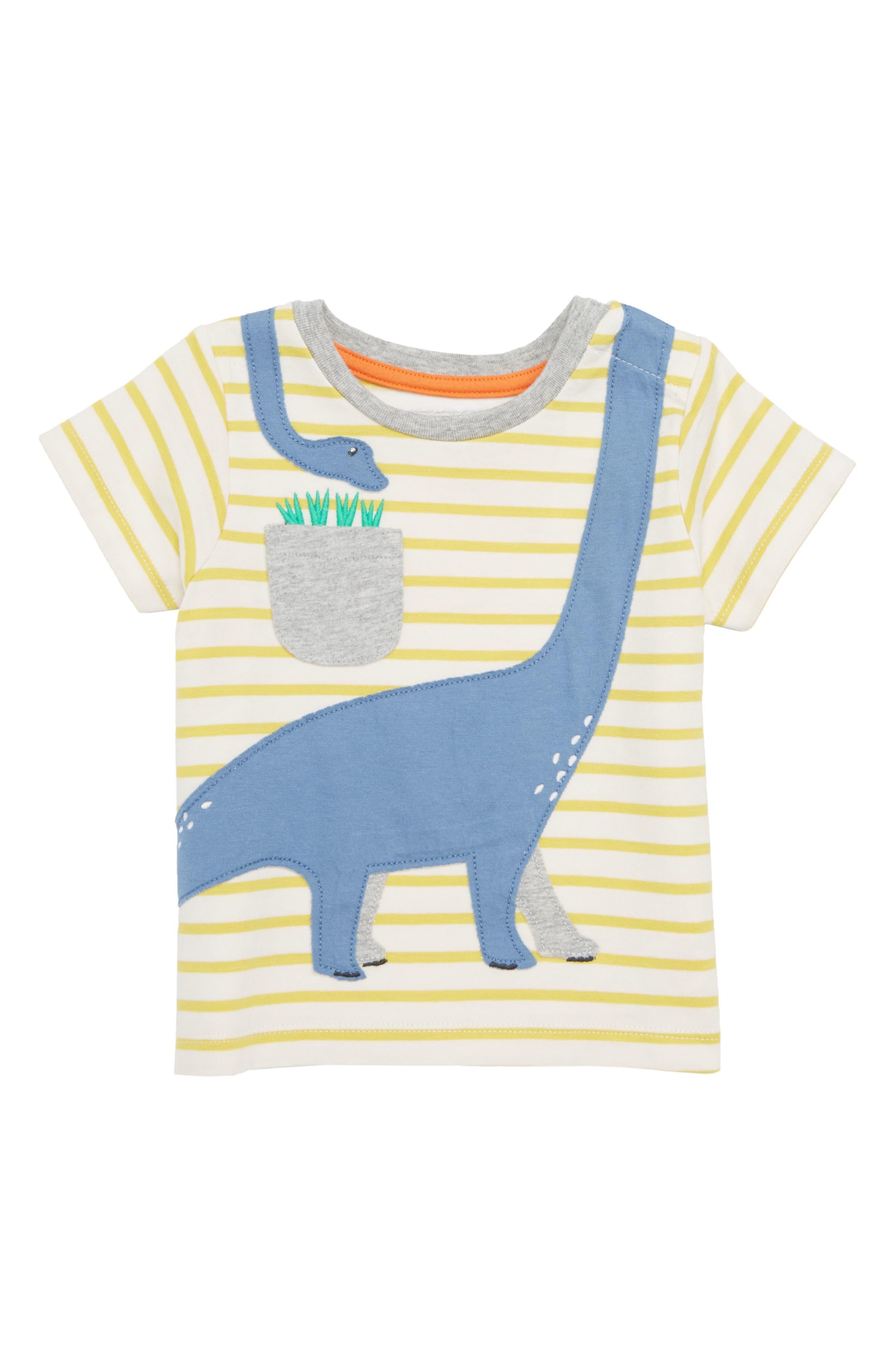 Mini Boden Dino Appliqué T-Shirt (Baby Boys & Toddler Boys)
