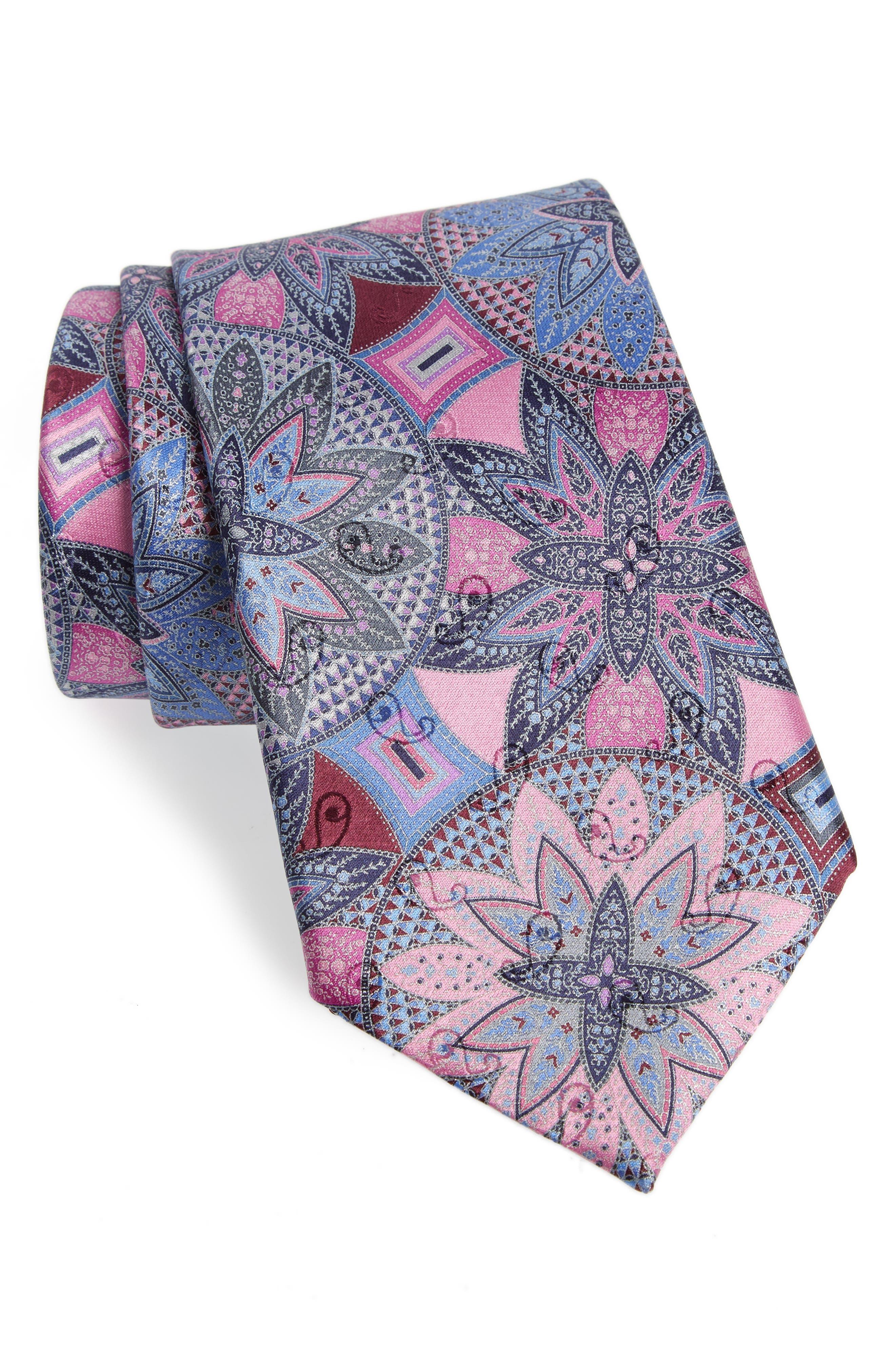Quindici Medallion Silk Tie,                             Main thumbnail 1, color,                             Pink