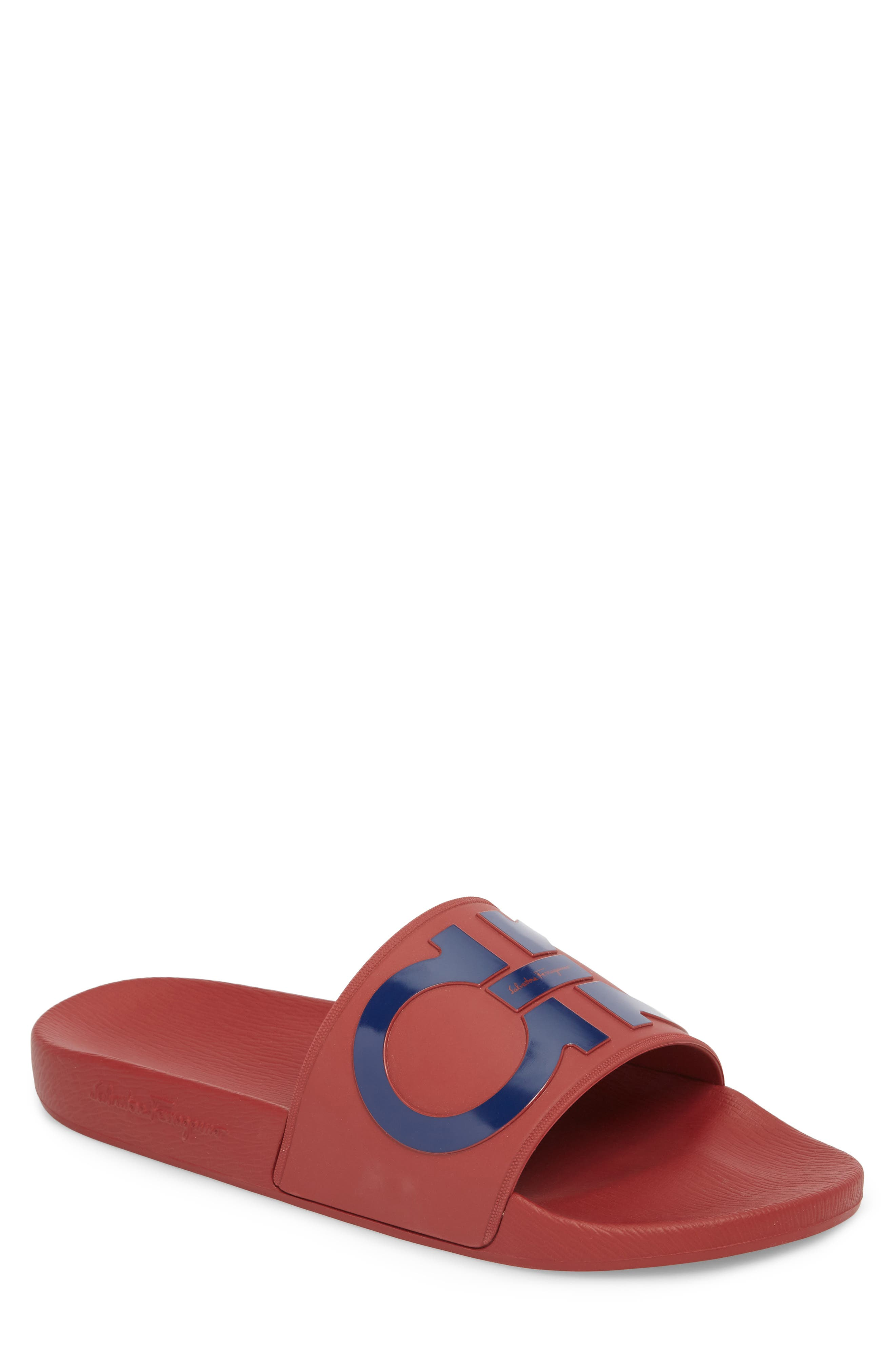 Groove Slide Sandal,                         Main,                         color, Rouge