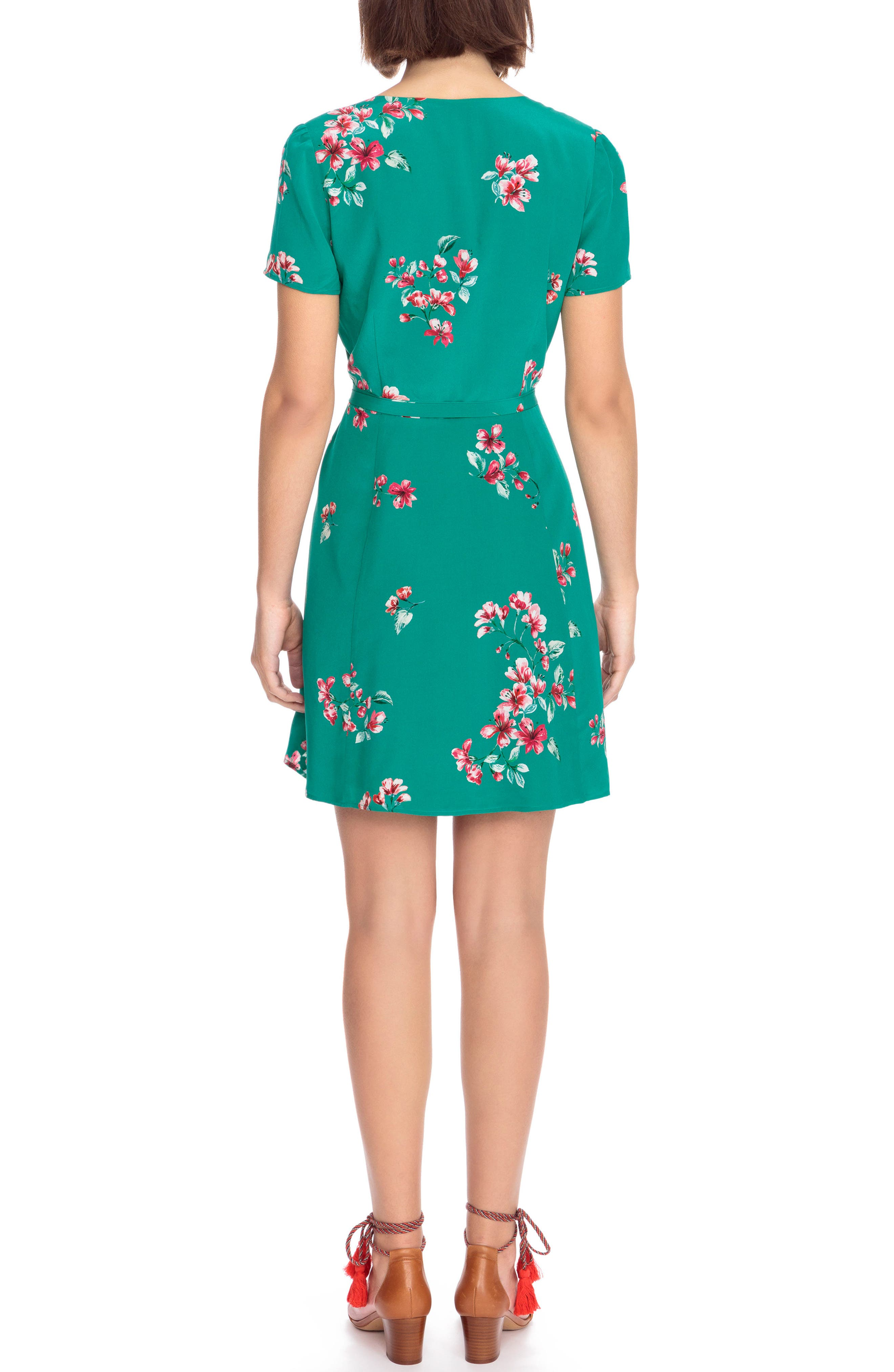 Anastasia Silk Wrap Dress,                             Alternate thumbnail 3, color,                             Bouquet Print On Green