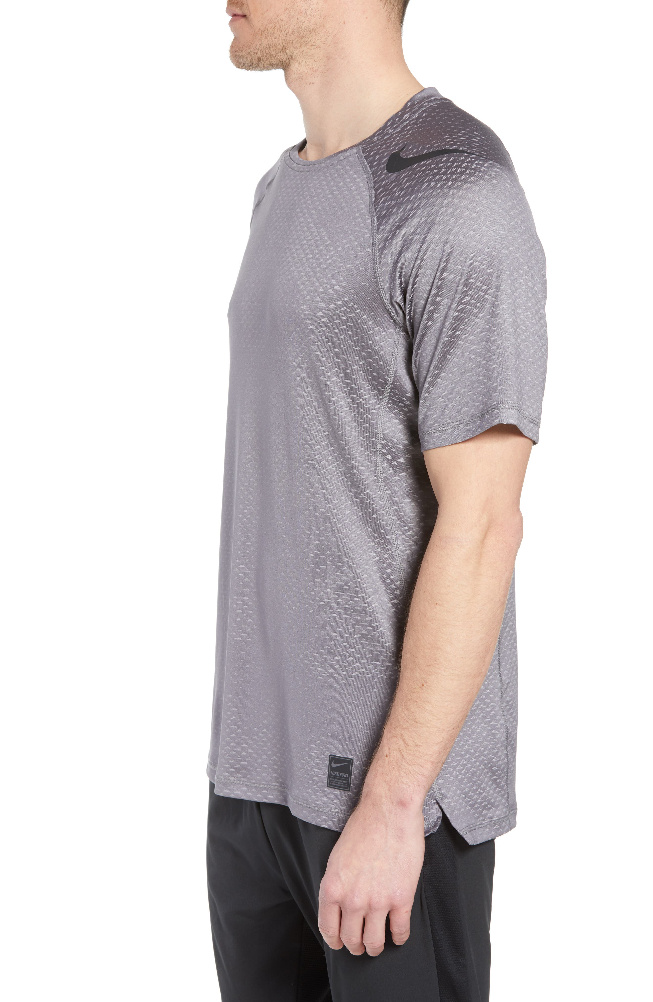 Pro HyperCool Fitted Crewneck T-Shirt,                             Alternate thumbnail 3, color,                             Atmosphere Grey/ Black