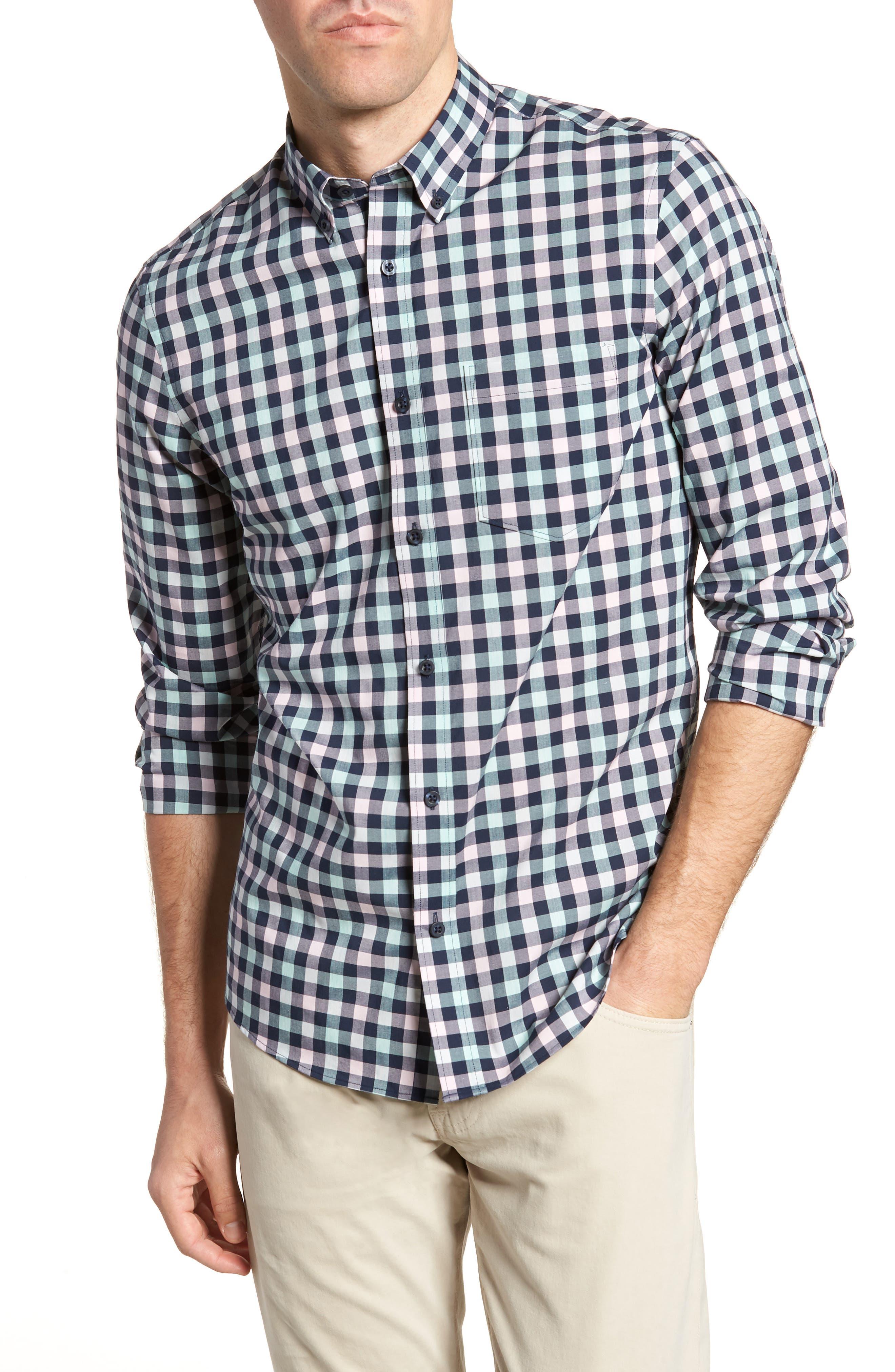 Tech-Smart Trim Fit Check Sport Shirt,                         Main,                         color, Navy Iris Teal Check