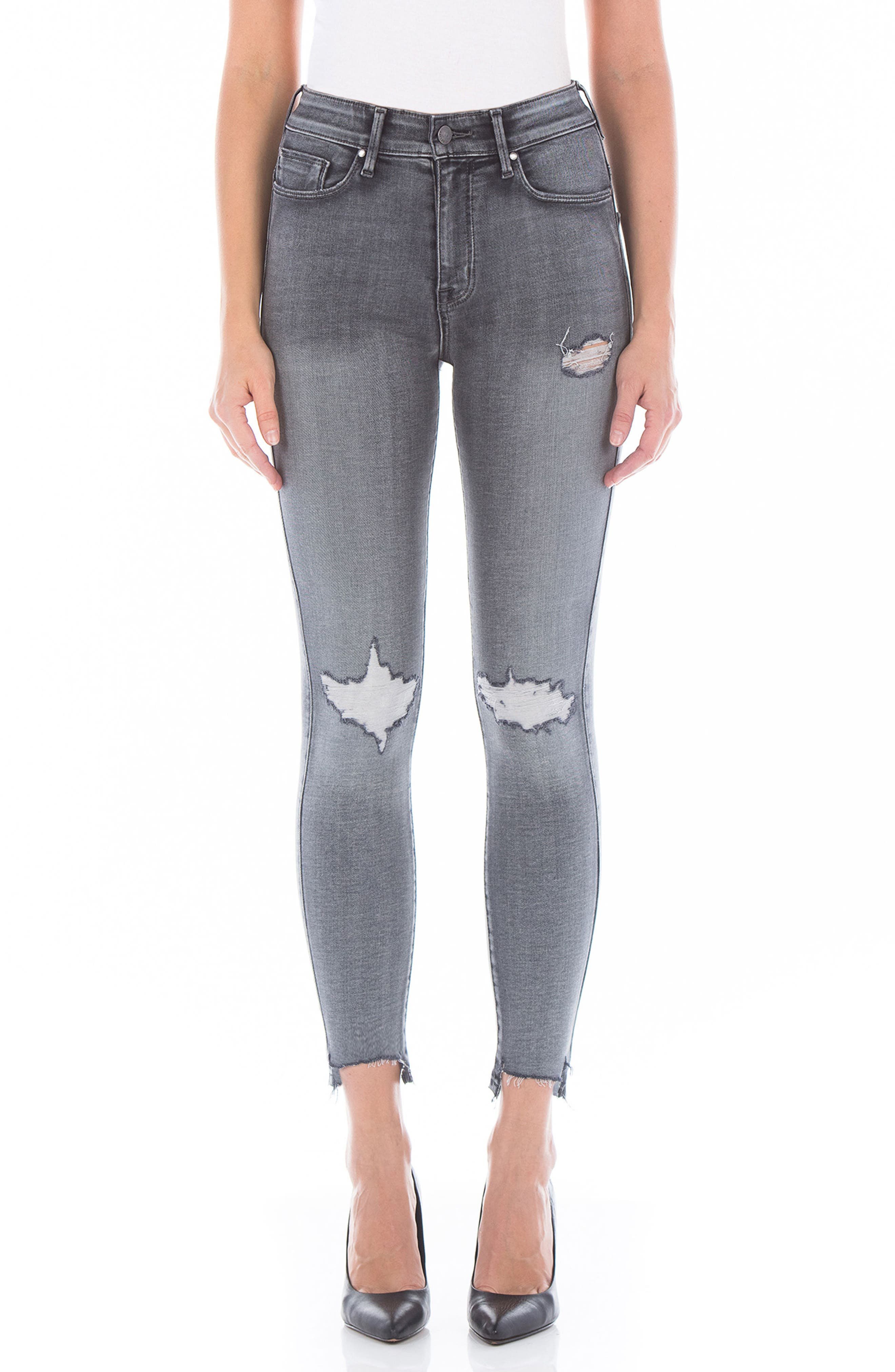 Main Image - Fidelity Denim Luna High Waist Distressed Skinny Jeans (Wiseman)