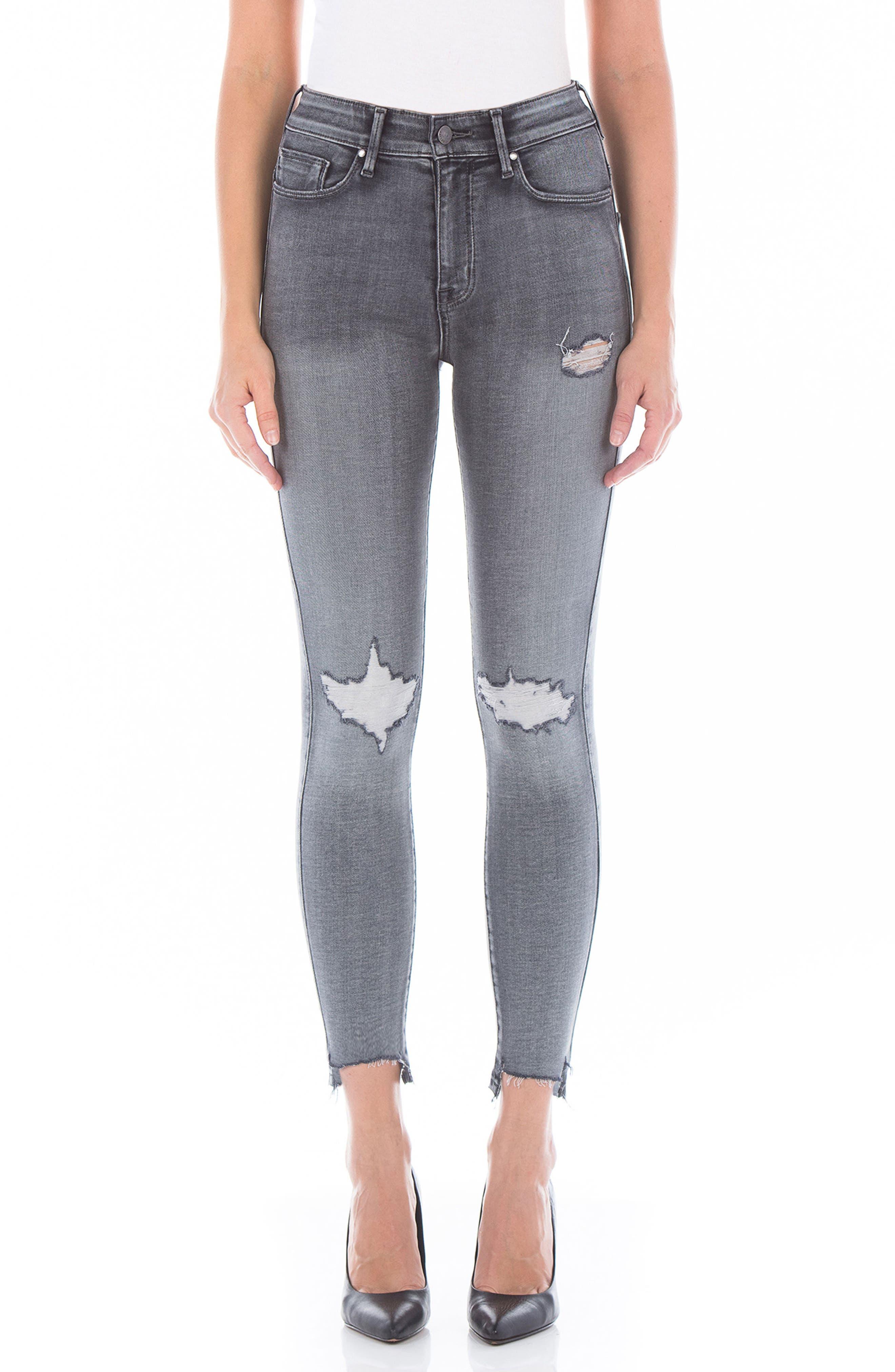 Luna High Waist Distressed Skinny Jeans,                         Main,                         color, Wiseman