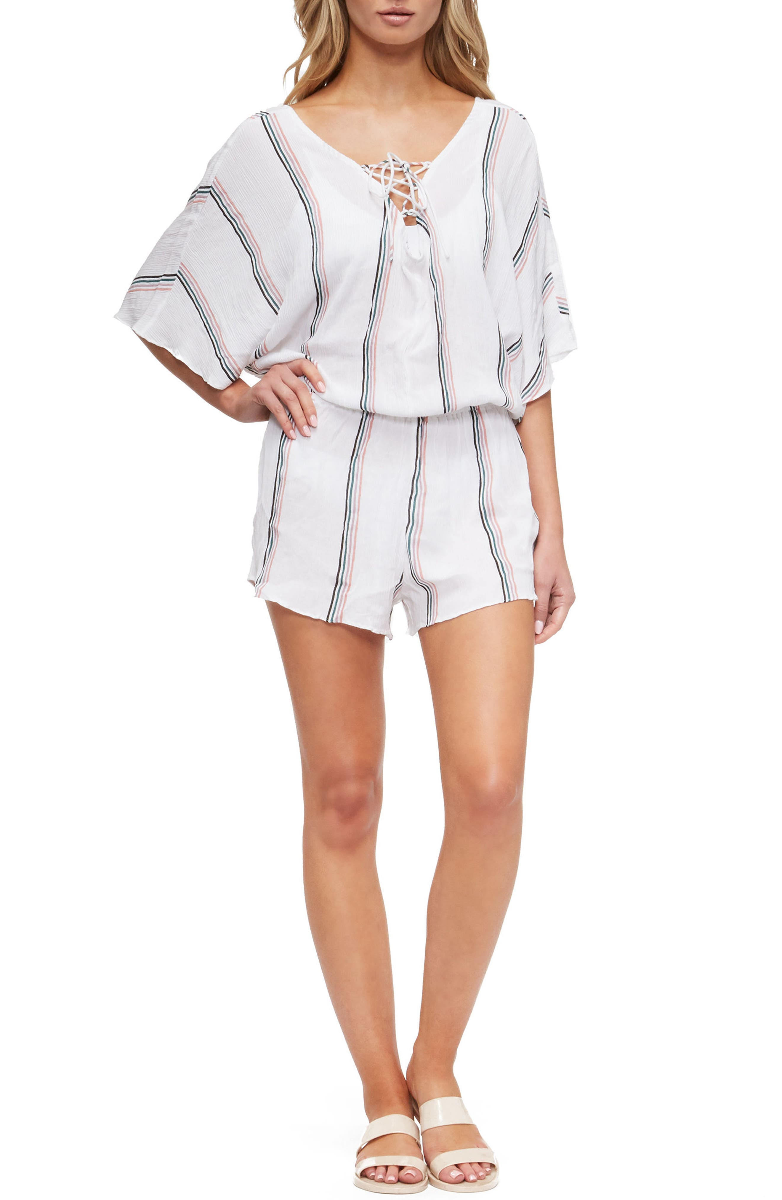 Harmony Cover-Up Romper,                             Main thumbnail 1, color,                             White/Coral Stripe