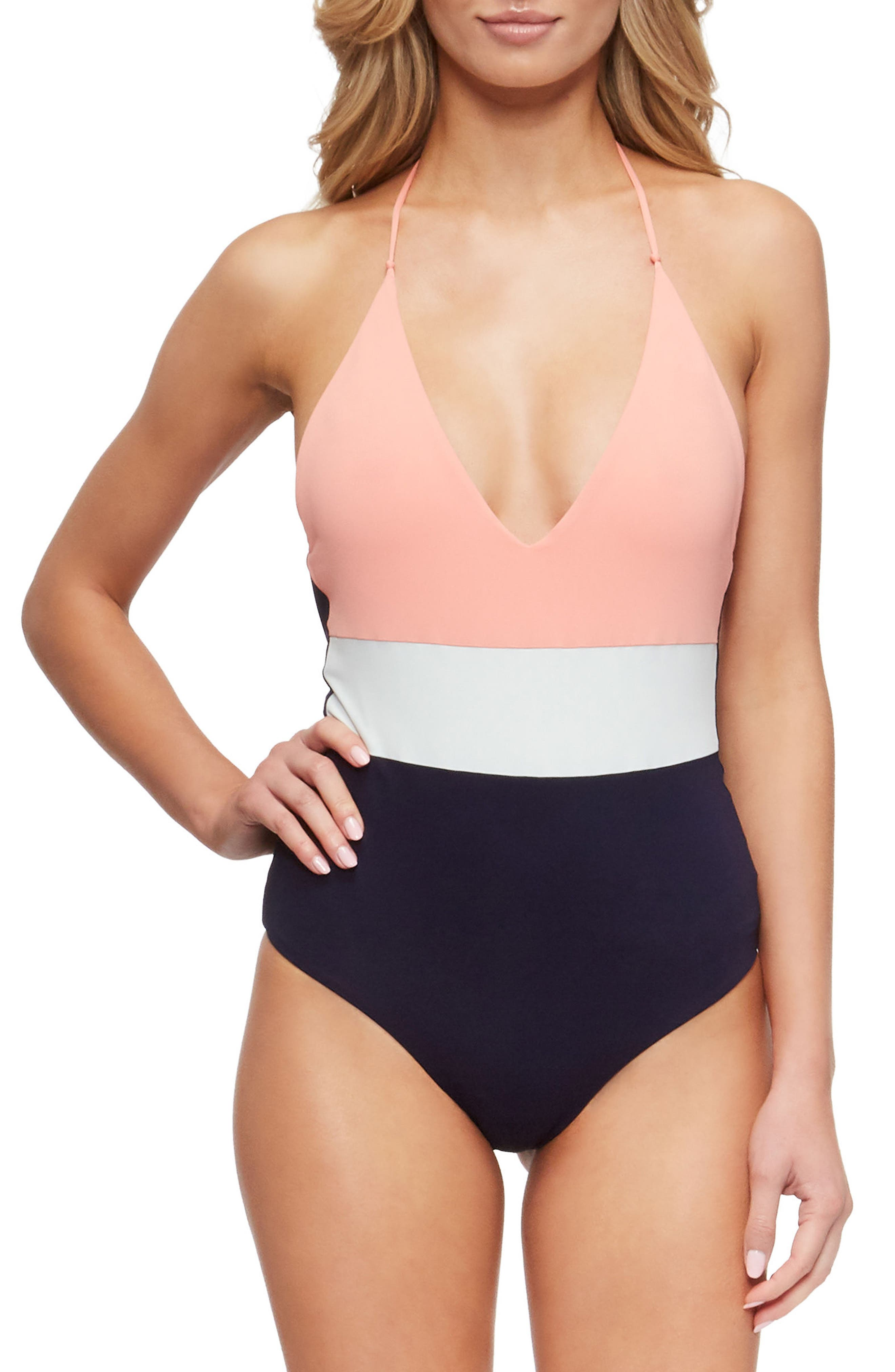 Chase One-Piece Swimsuit,                         Main,                         color, Coral