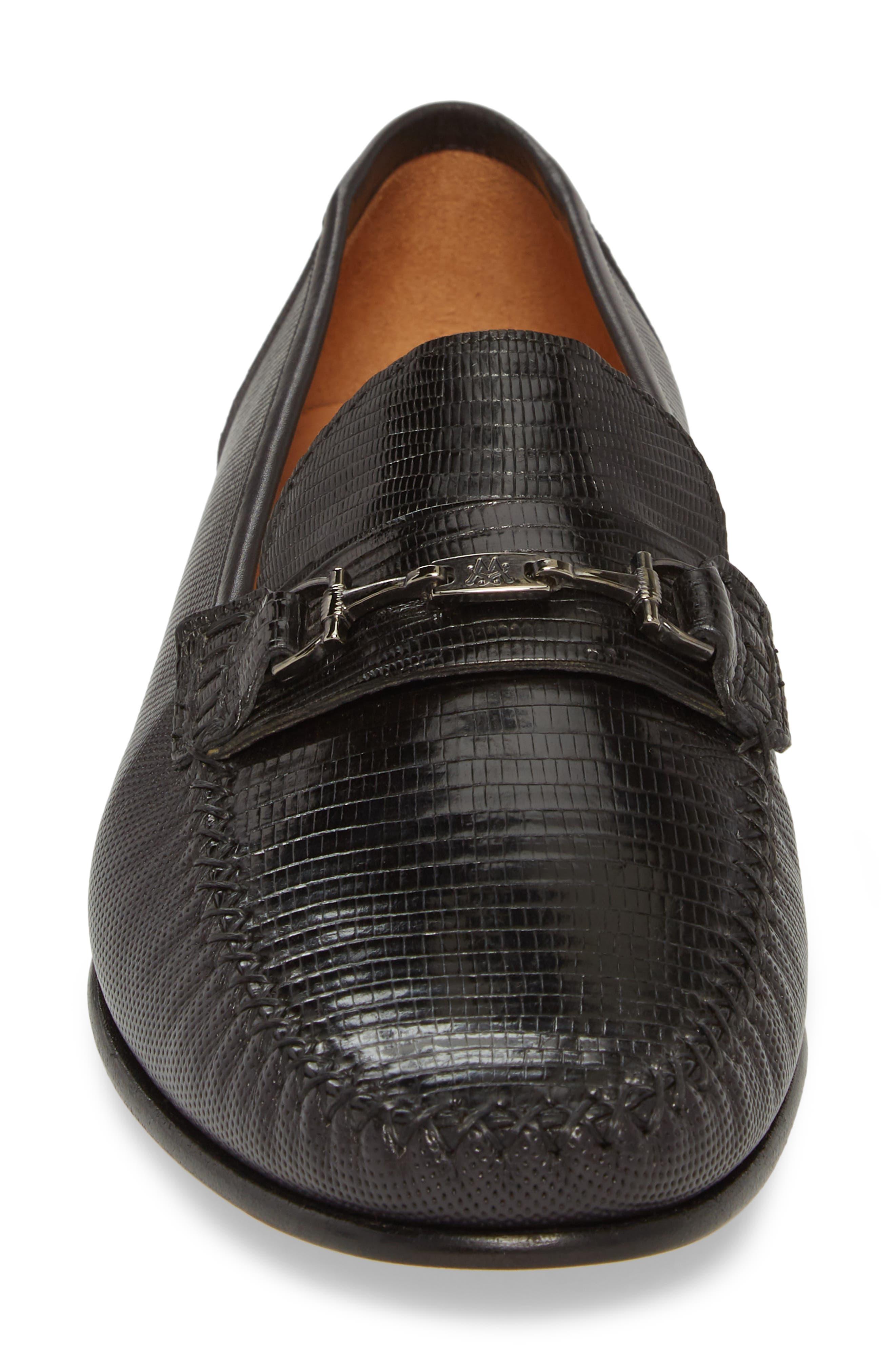 Sileno Lizard Loafer,                             Alternate thumbnail 4, color,                             Black Leather