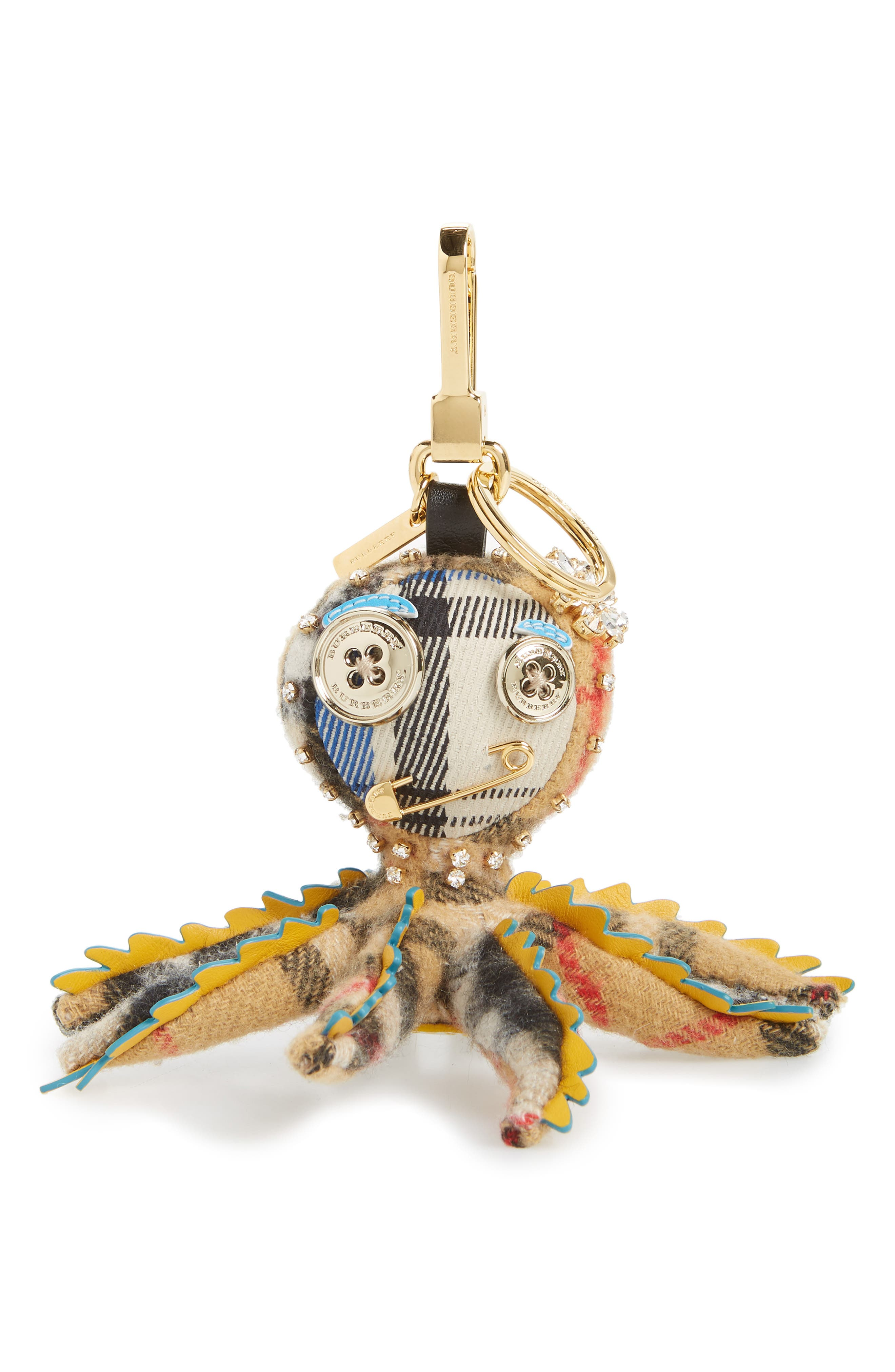 Sally the Octopus Cashmere Bag Charm,                             Main thumbnail 1, color,                             Antique Yellow Multi