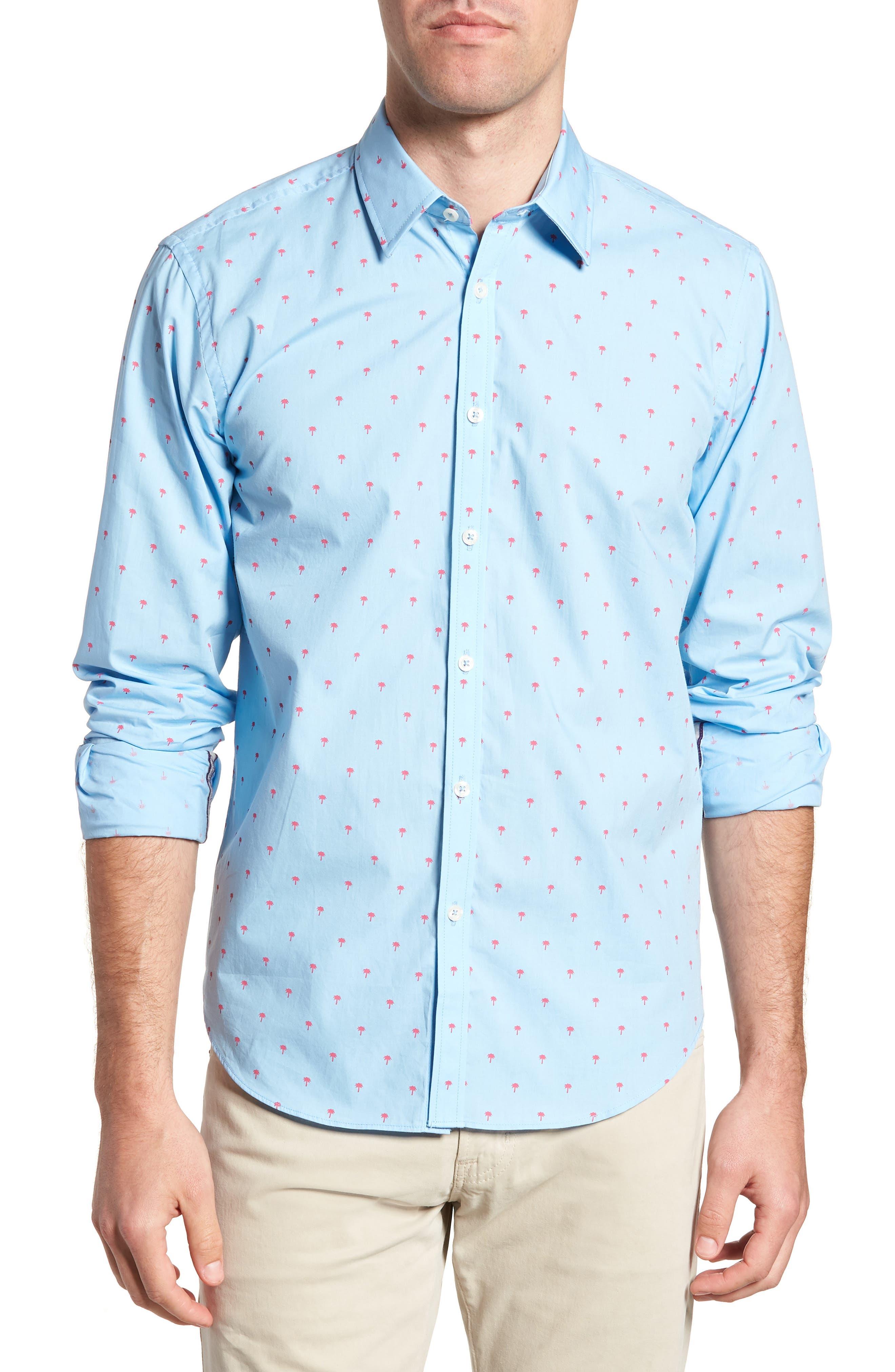 Slim Fit Palm Print Sport Shirt,                         Main,                         color, Light Blue