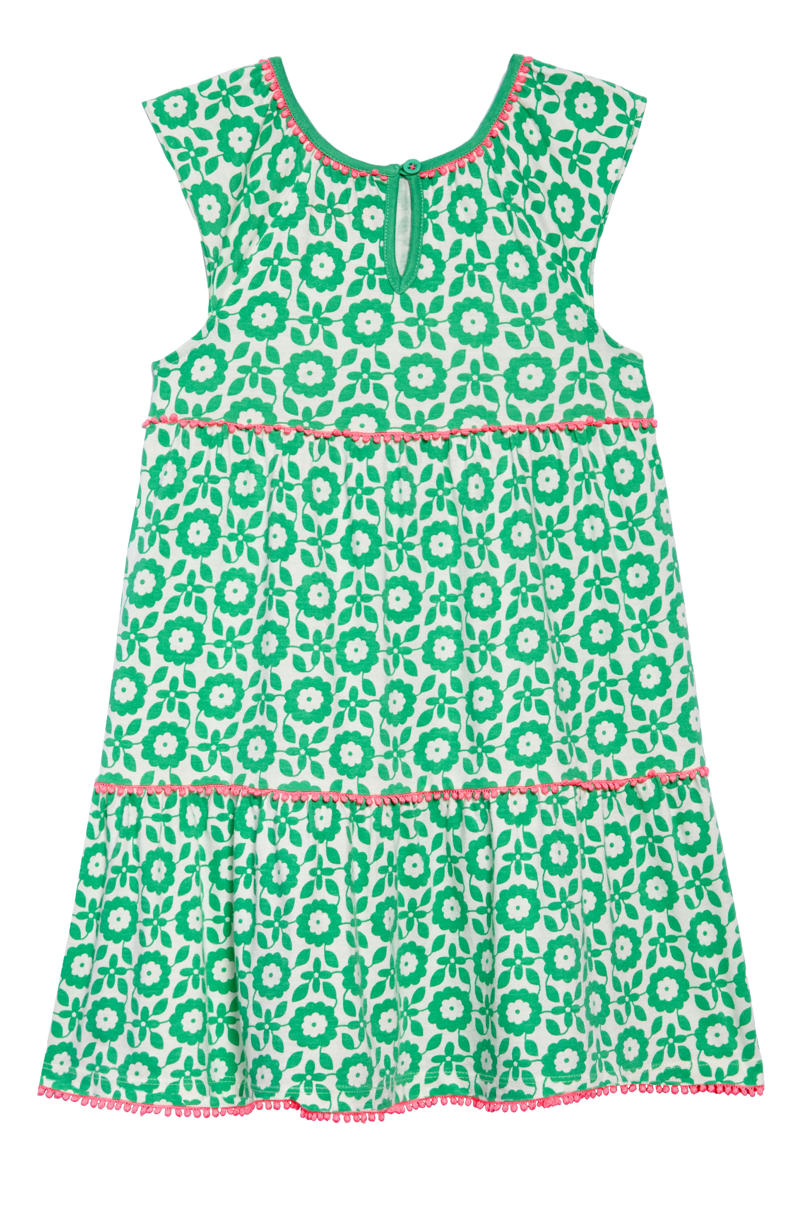 Tiered Jersey Frill Dress,                             Alternate thumbnail 2, color,                             Peppermint Green Retro Tile