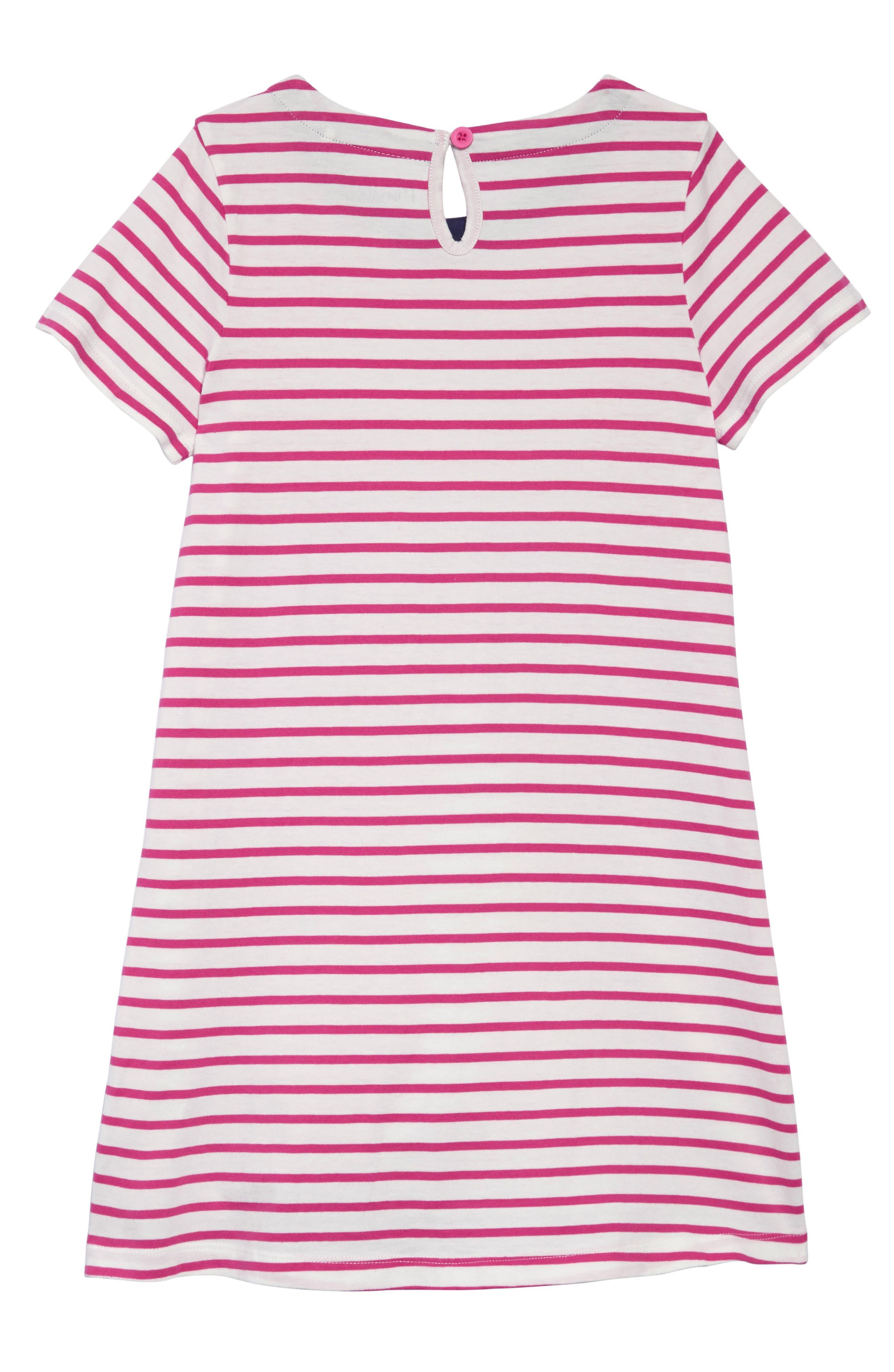 Summer Appliqué T-Shirt Dress,                             Alternate thumbnail 2, color,                             Mid Pink Stripe Shark Pnk