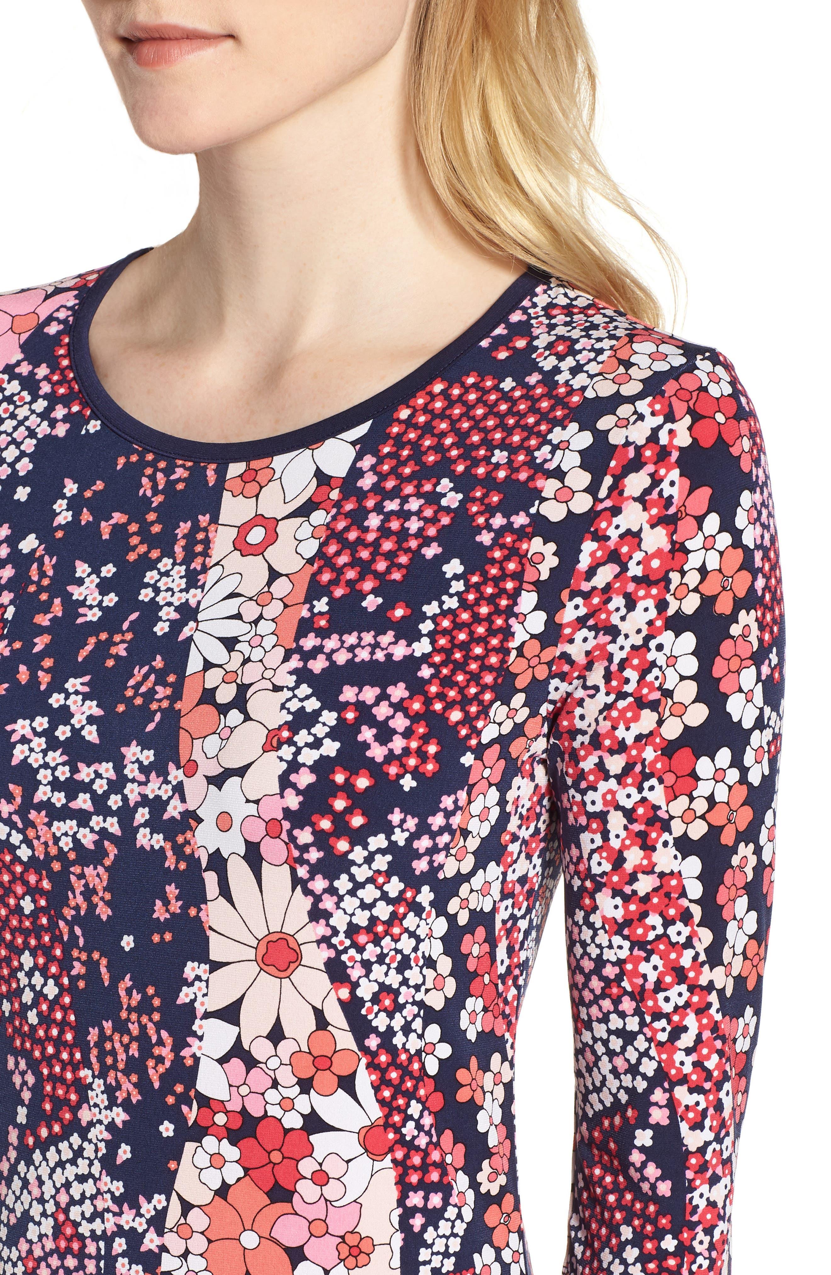 Patch Flower Flounce Dress,                             Alternate thumbnail 4, color,                             True Navy/ Bright Blush