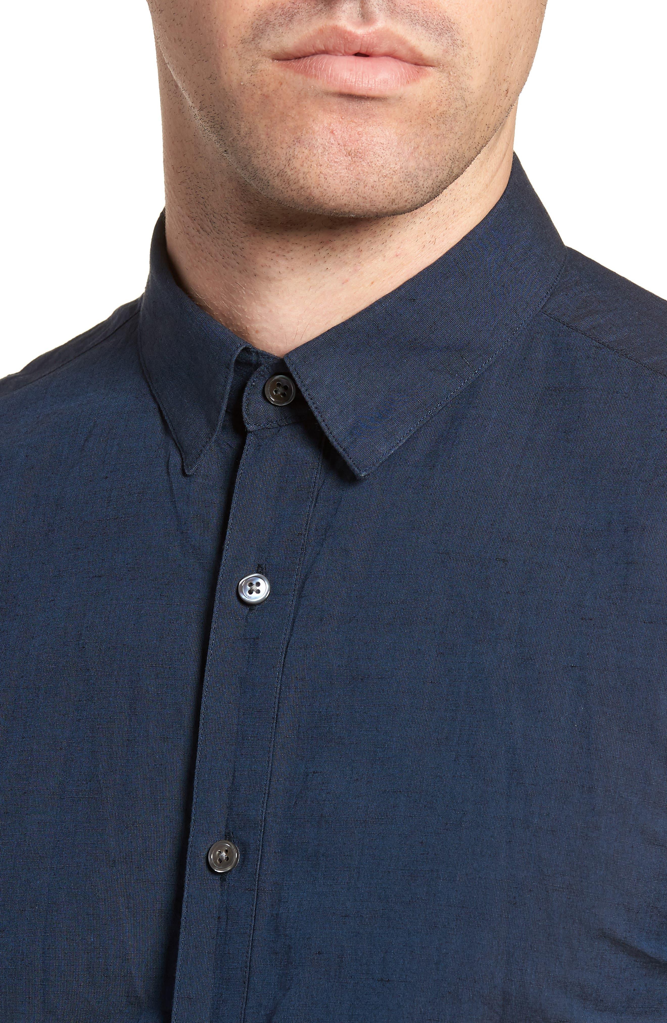 Edward Regular Fit Linen & Cotton Sport Shirt,                             Alternate thumbnail 4, color,                             Finch