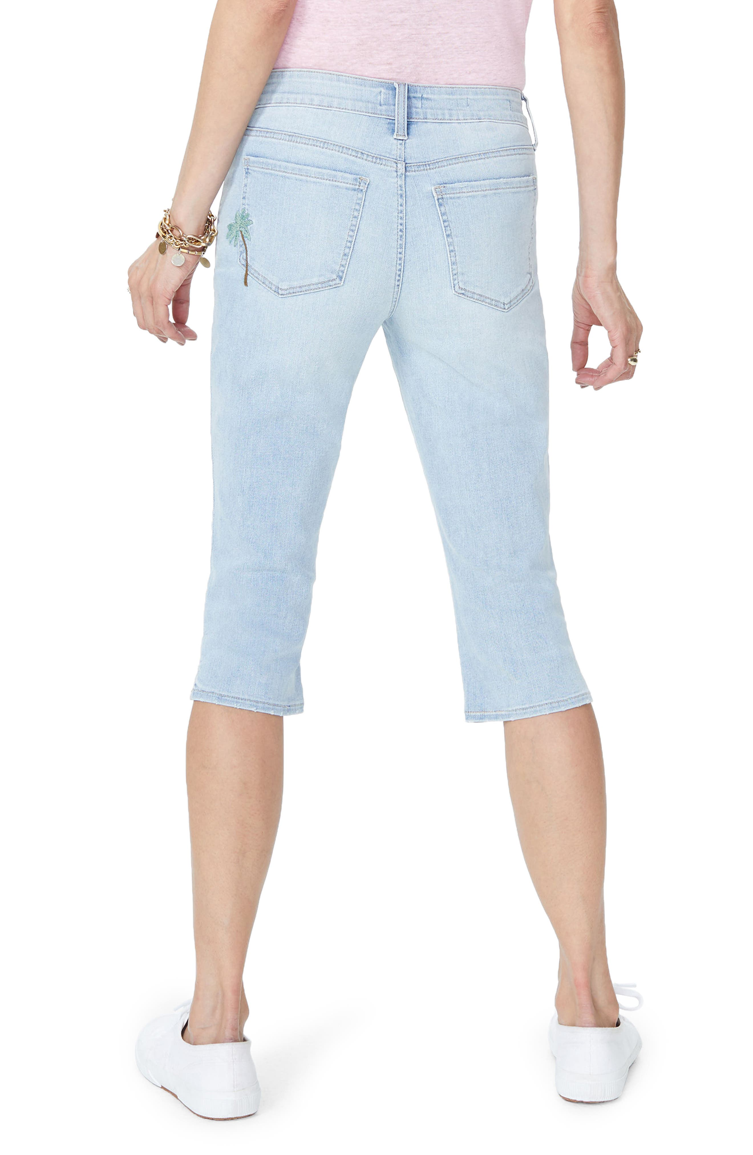 Embroidered Stretch Skinny Capri Jeans,                             Alternate thumbnail 2, color,                             Clean Cloud Nine