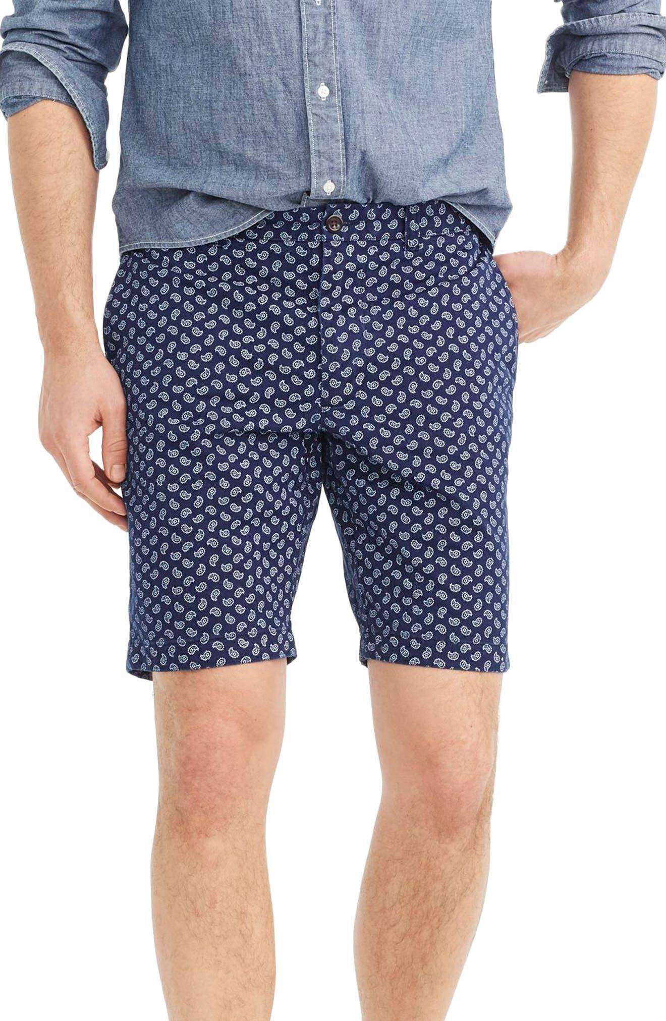 Paisley Stretch Cotton Shorts,                             Main thumbnail 1, color,                             Deep Baltic