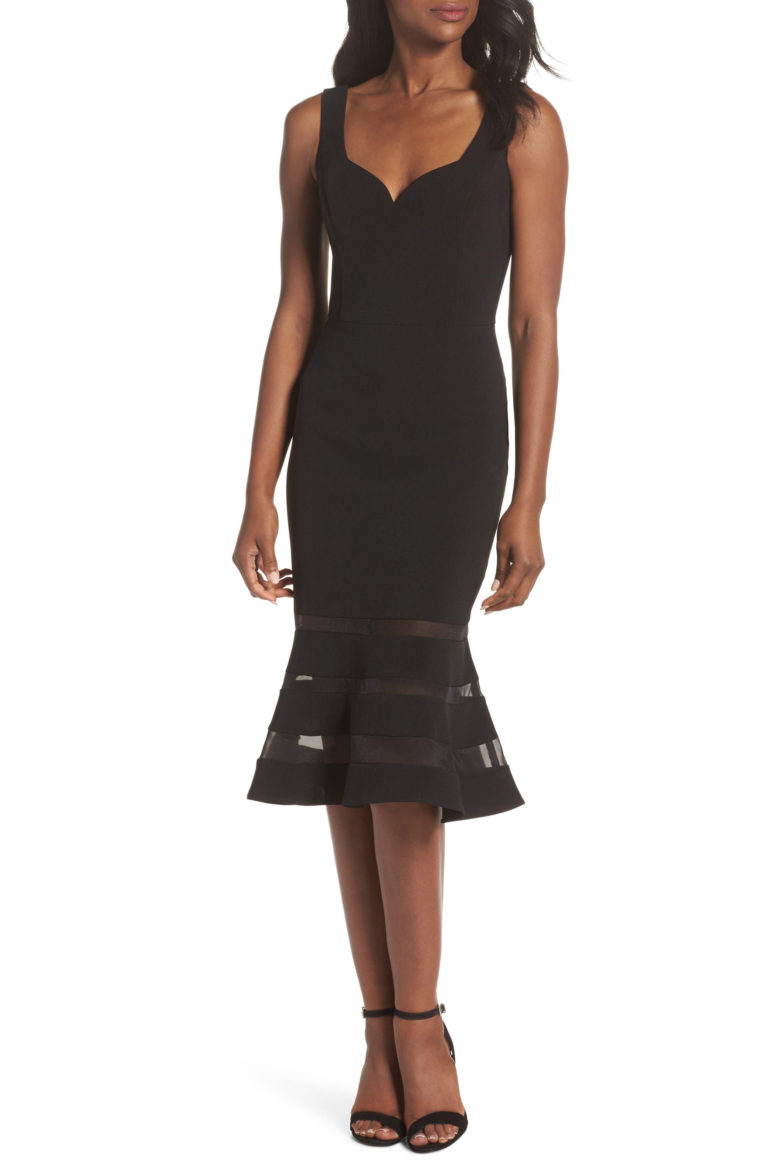 Jeanie Trumpet Midi Dress,                             Main thumbnail 1, color,                             Black