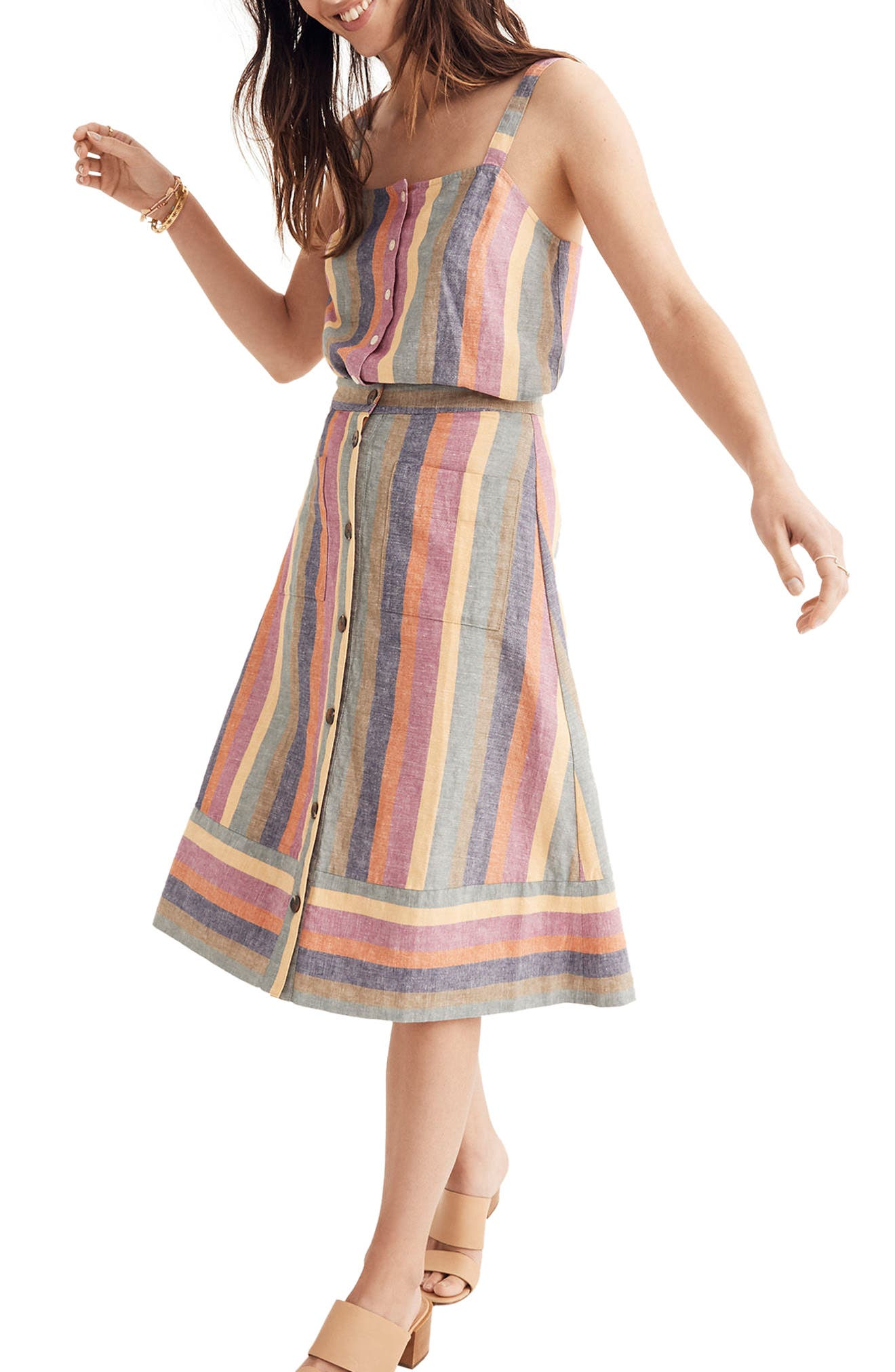 Rainbow Stripe Midi Skirt,                             Alternate thumbnail 3, color,                             Meadow Green
