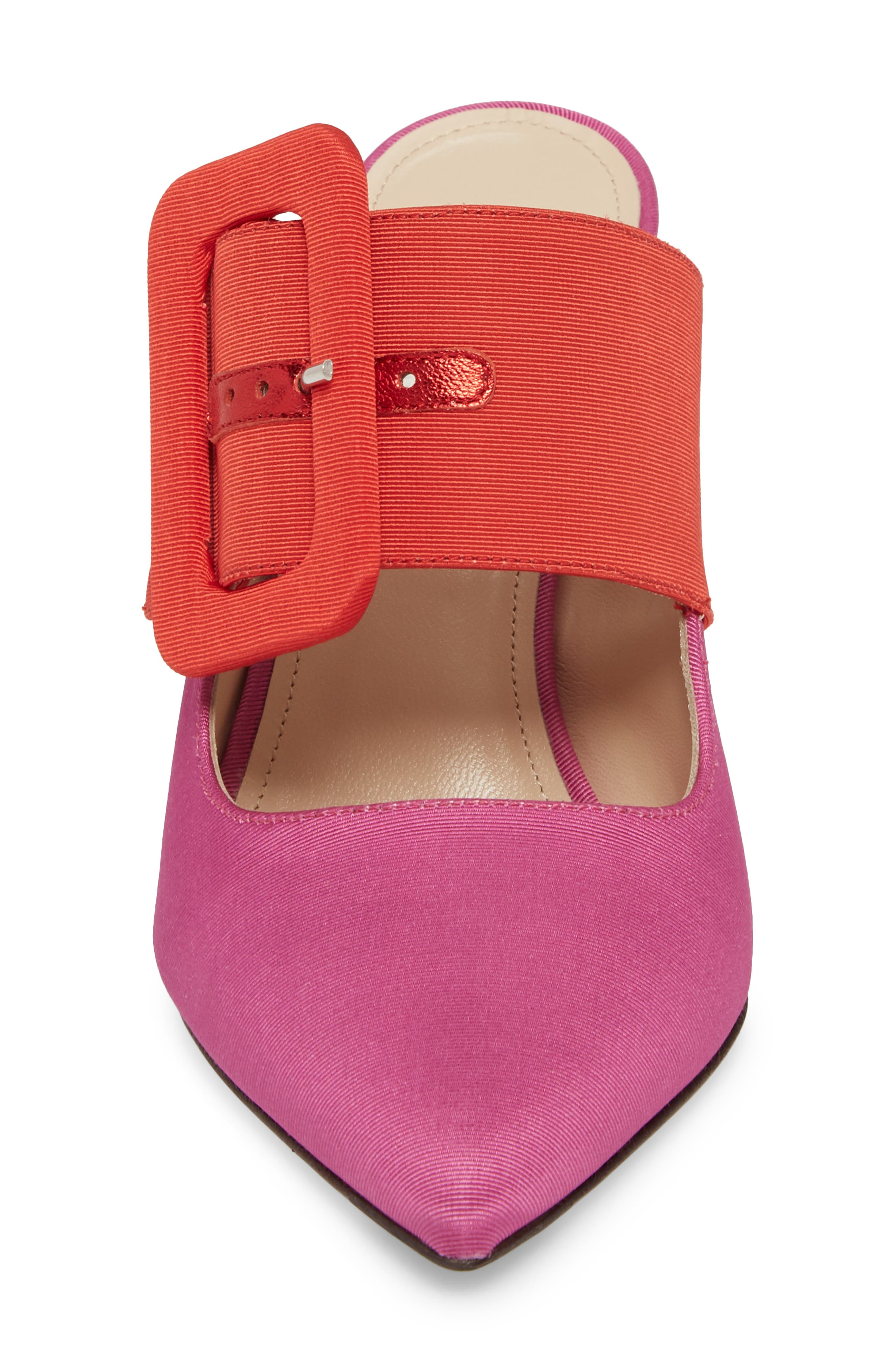 Chloé Buckle Mule,                             Alternate thumbnail 4, color,                             Pink/ Red