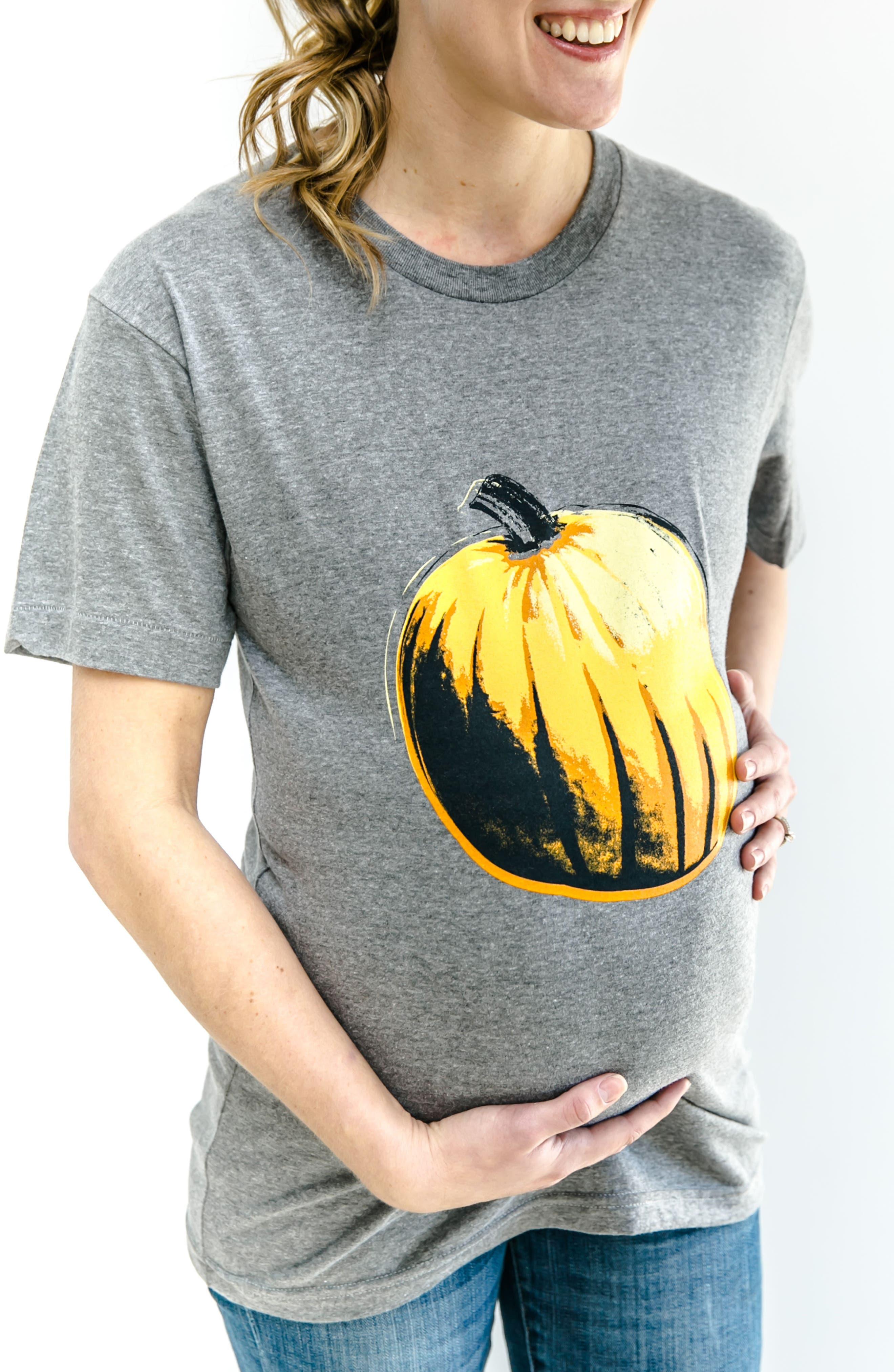 Third Trimester Pumpkin Maternity Tee,                             Alternate thumbnail 2, color,                             Grey