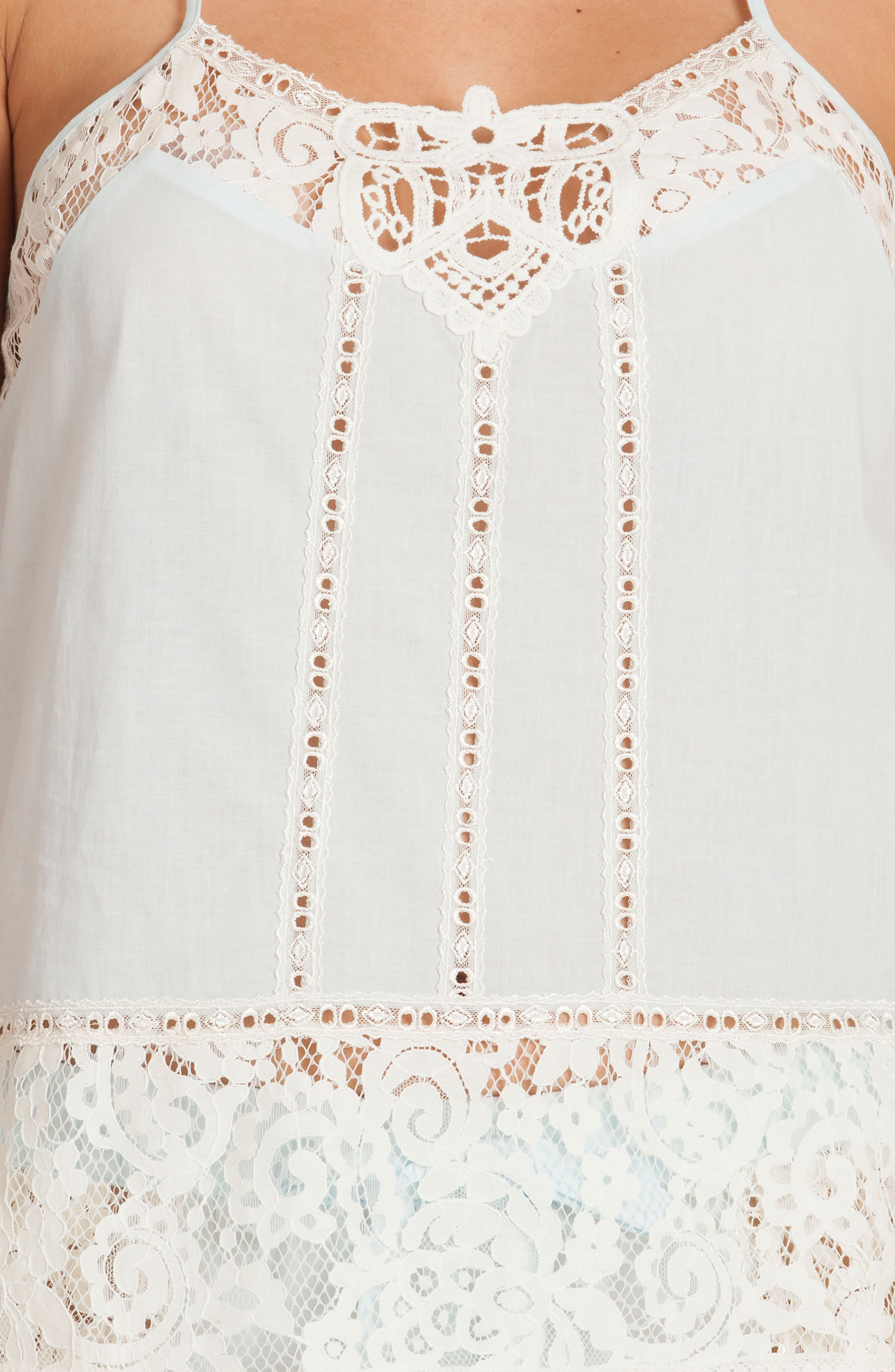 Eyelet Cotton Short Pajamas,                             Alternate thumbnail 5, color,                             Skyfall/ Beige