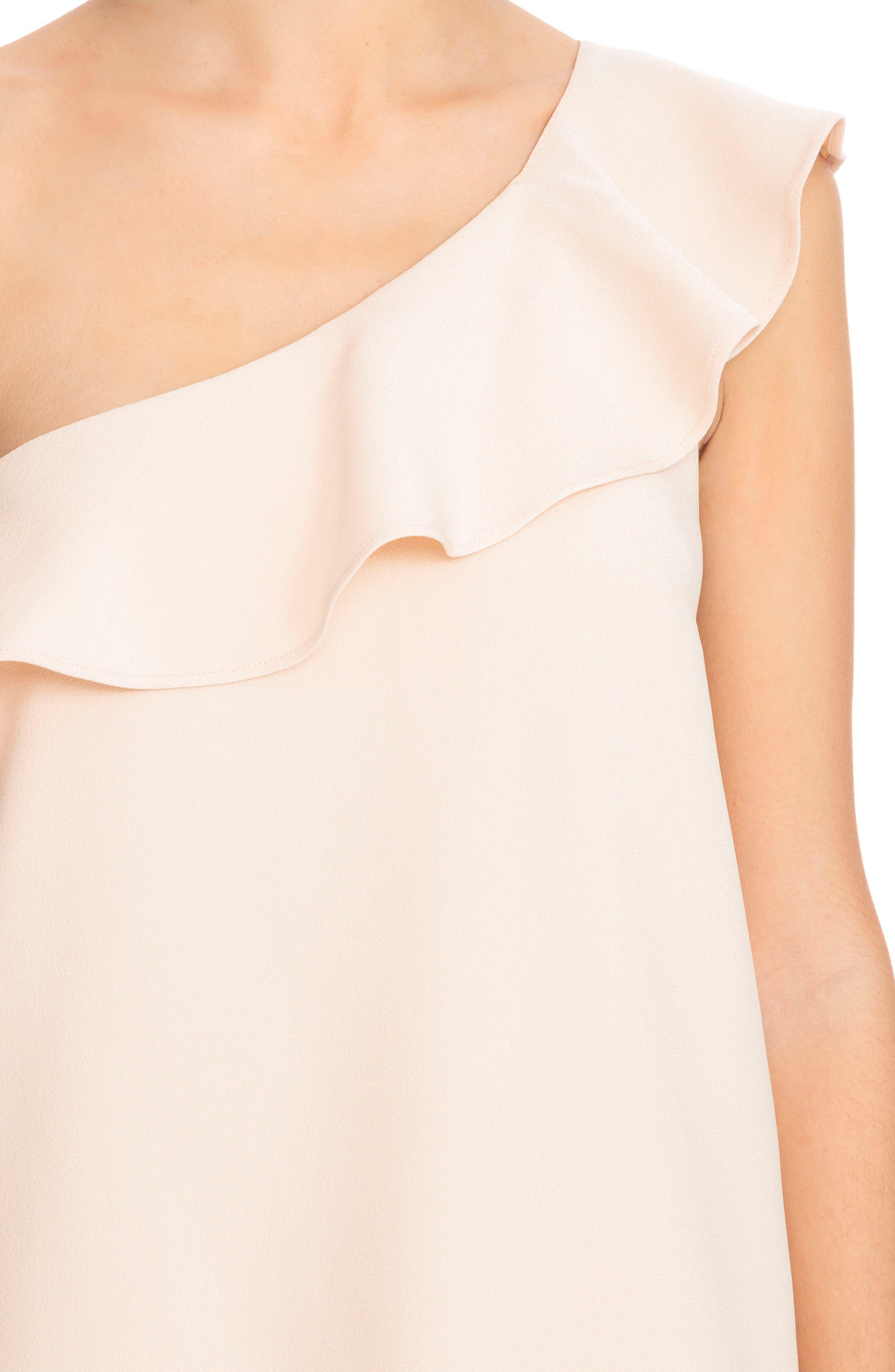 Louison Ruffle One-Shoulder Shift Dress,                             Alternate thumbnail 4, color,                             Nude