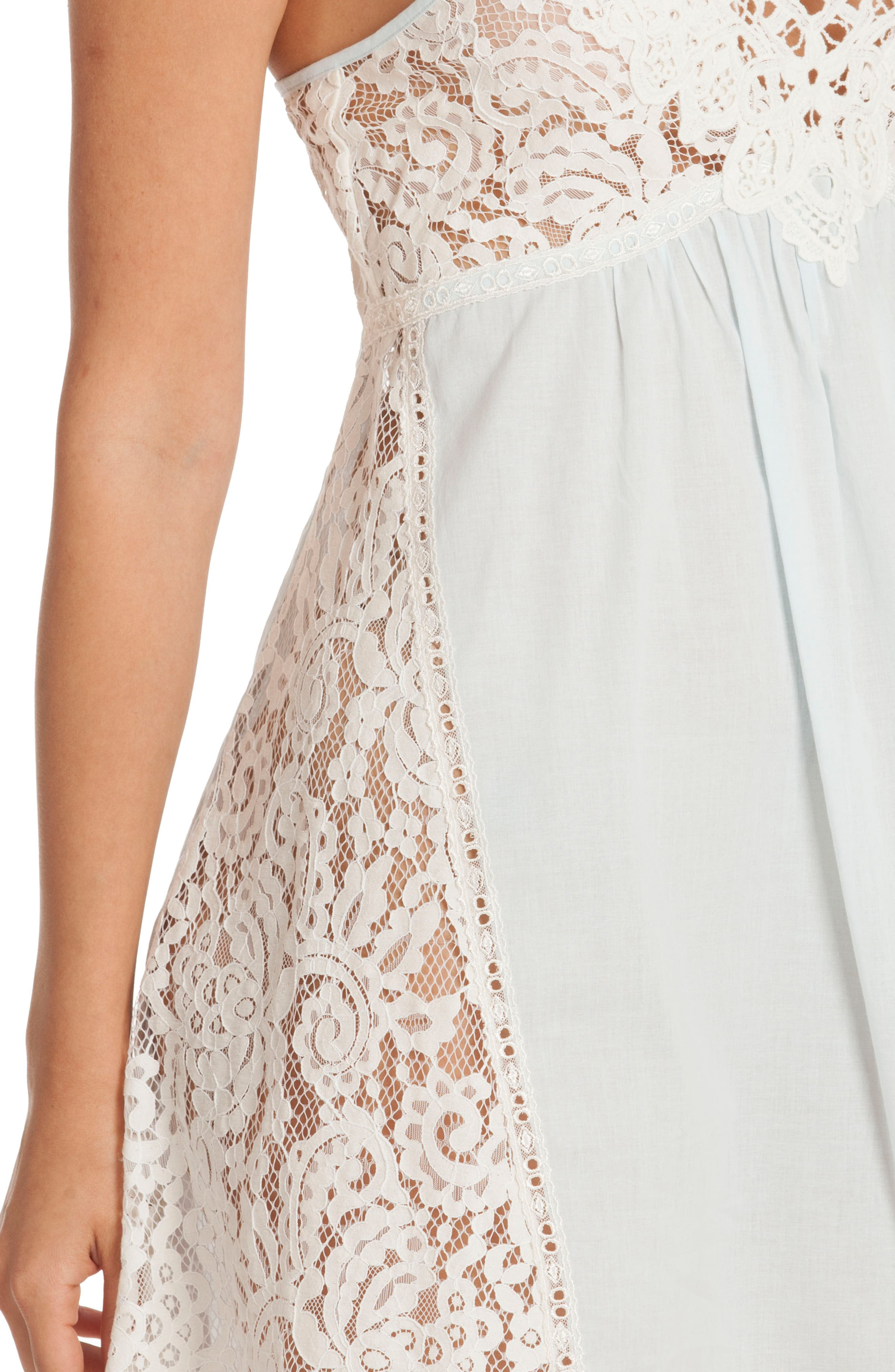 Lace Chemise,                             Alternate thumbnail 5, color,                             Skyfall/ Beige