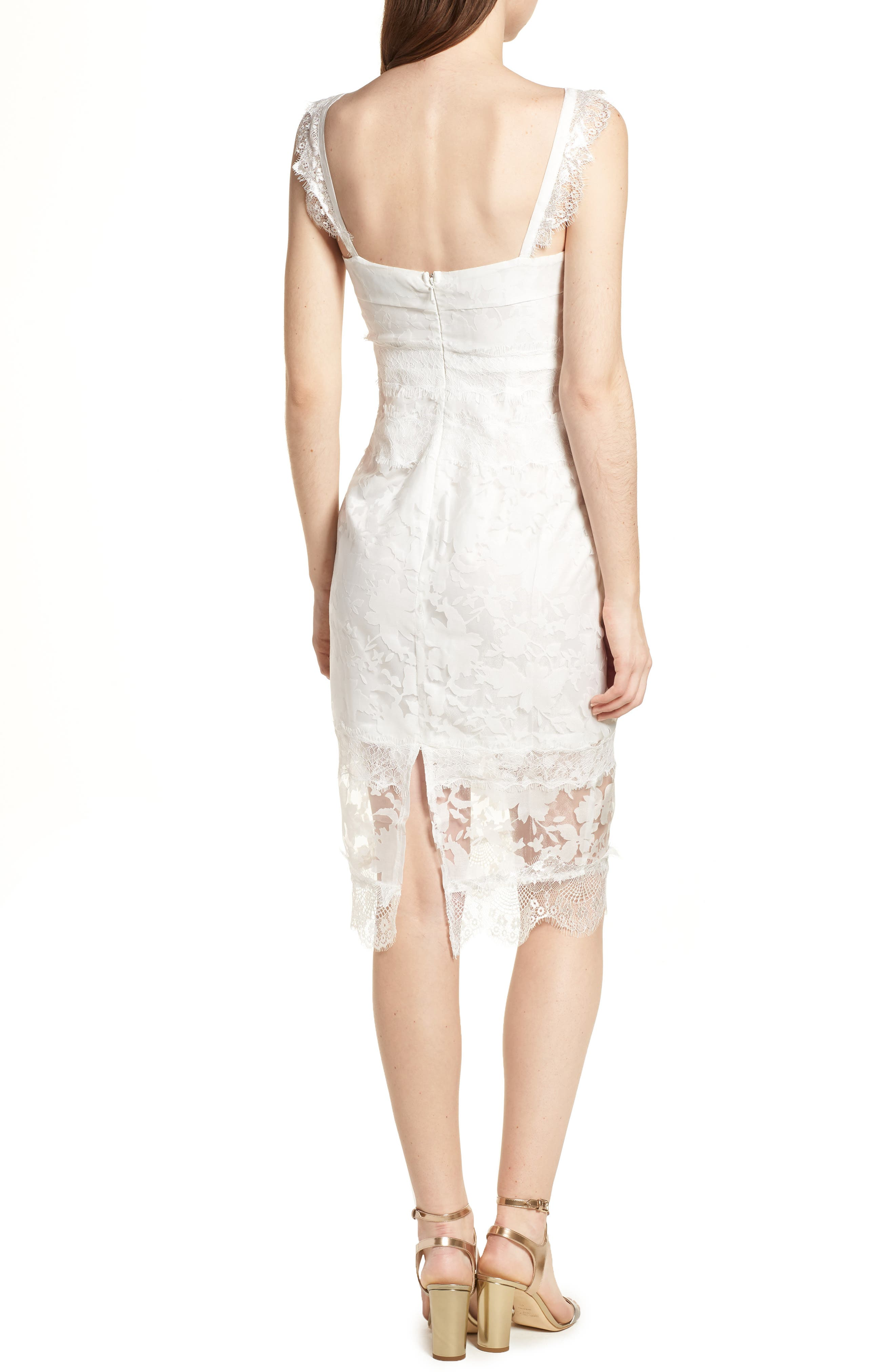 Organza Lace Sheath Dress,                             Alternate thumbnail 2, color,                             Ivory