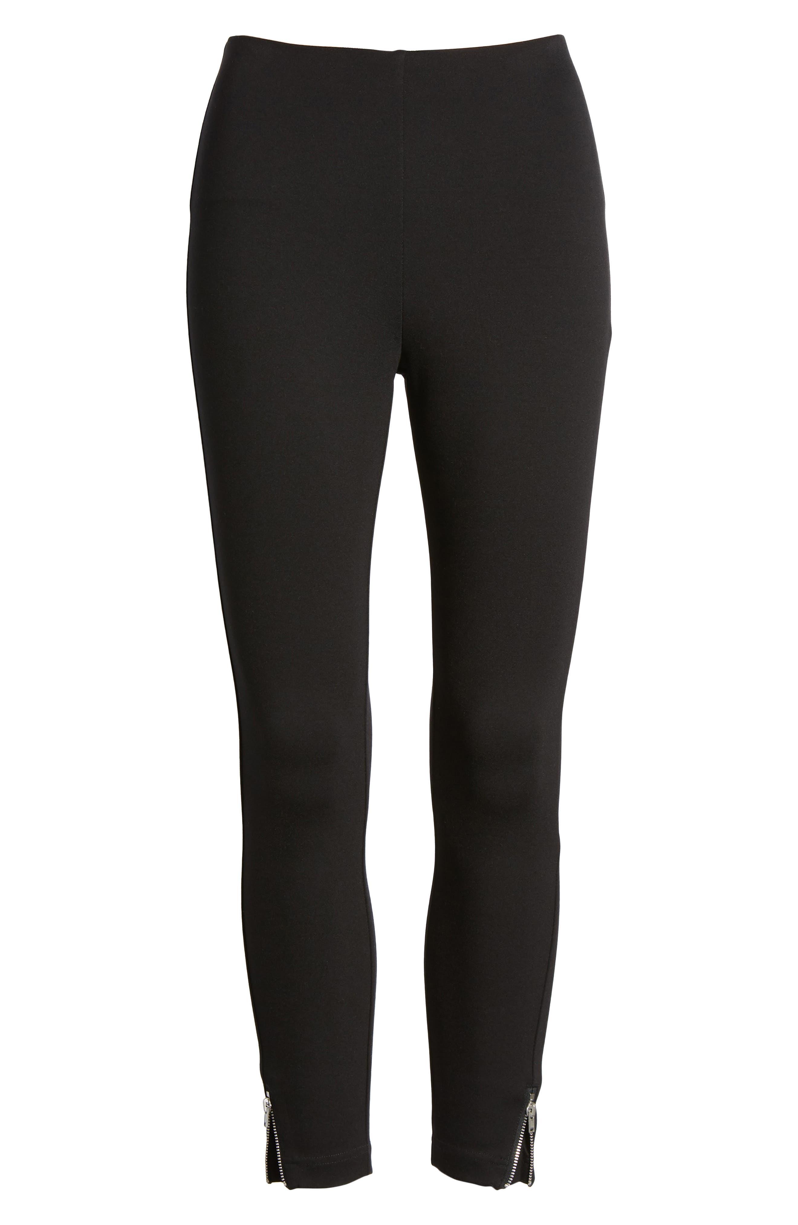 Mini Zip Crop Leggings,                             Alternate thumbnail 6, color,                             Black