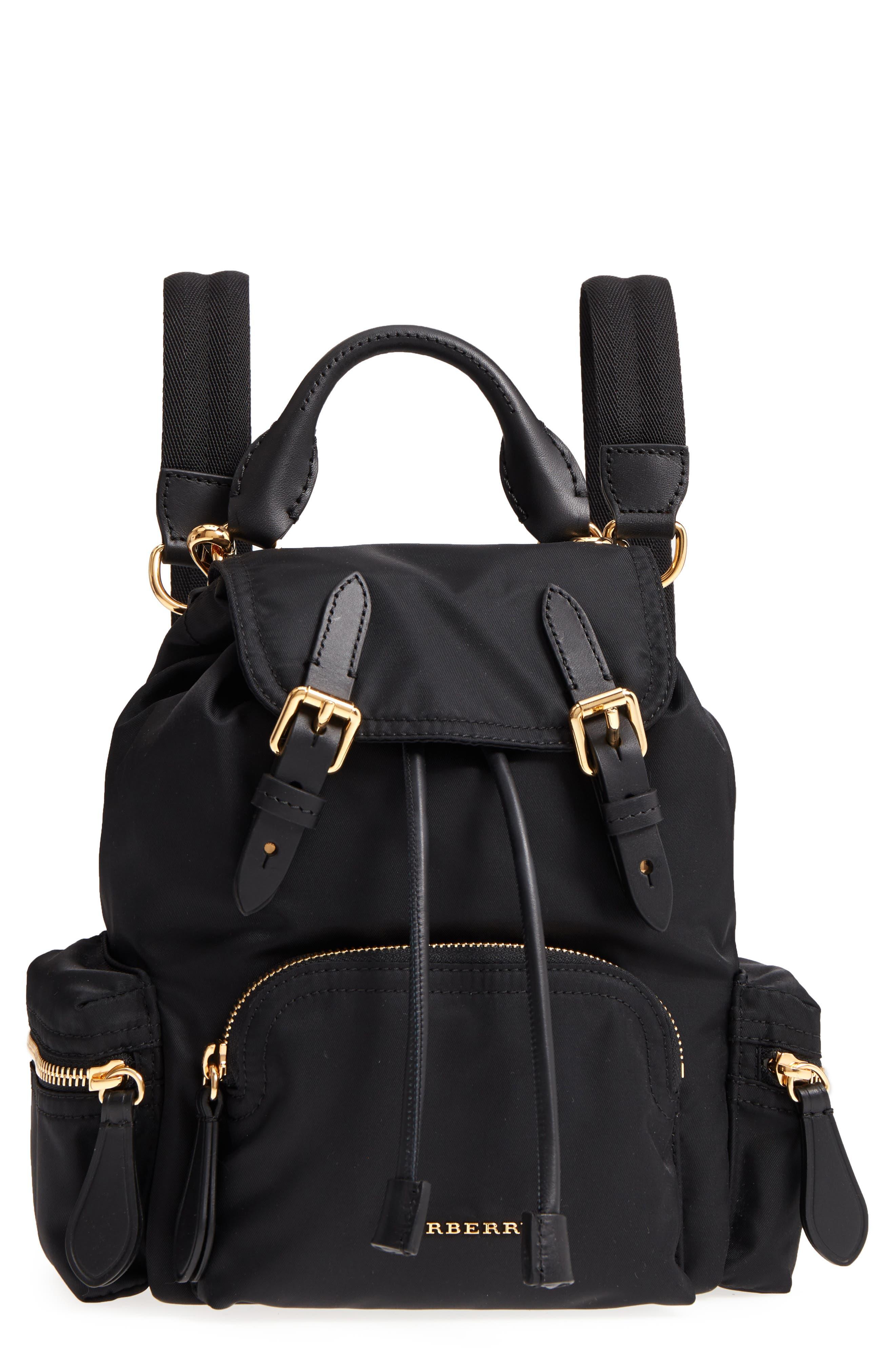 Small Rucksack Nylon Backpack,                             Main thumbnail 1, color,                             Black