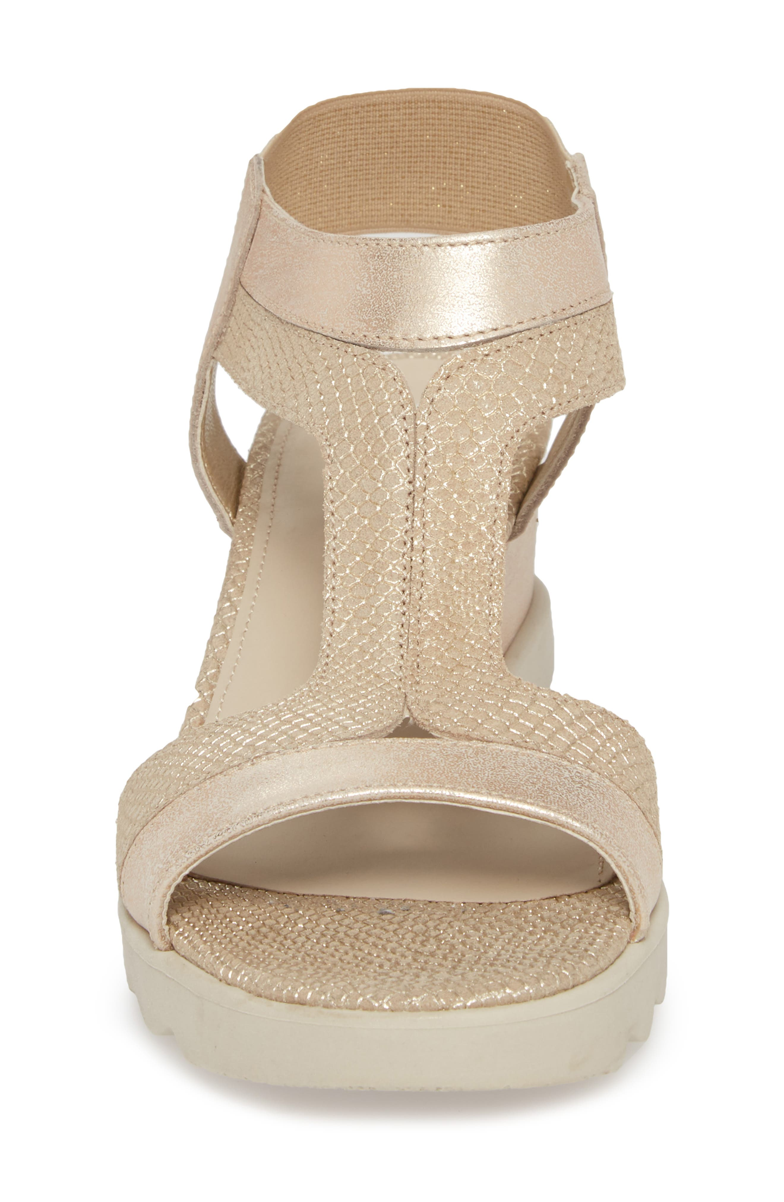 Give A Hoot Wedge Sandal,                             Alternate thumbnail 4, color,                             Gold Leather