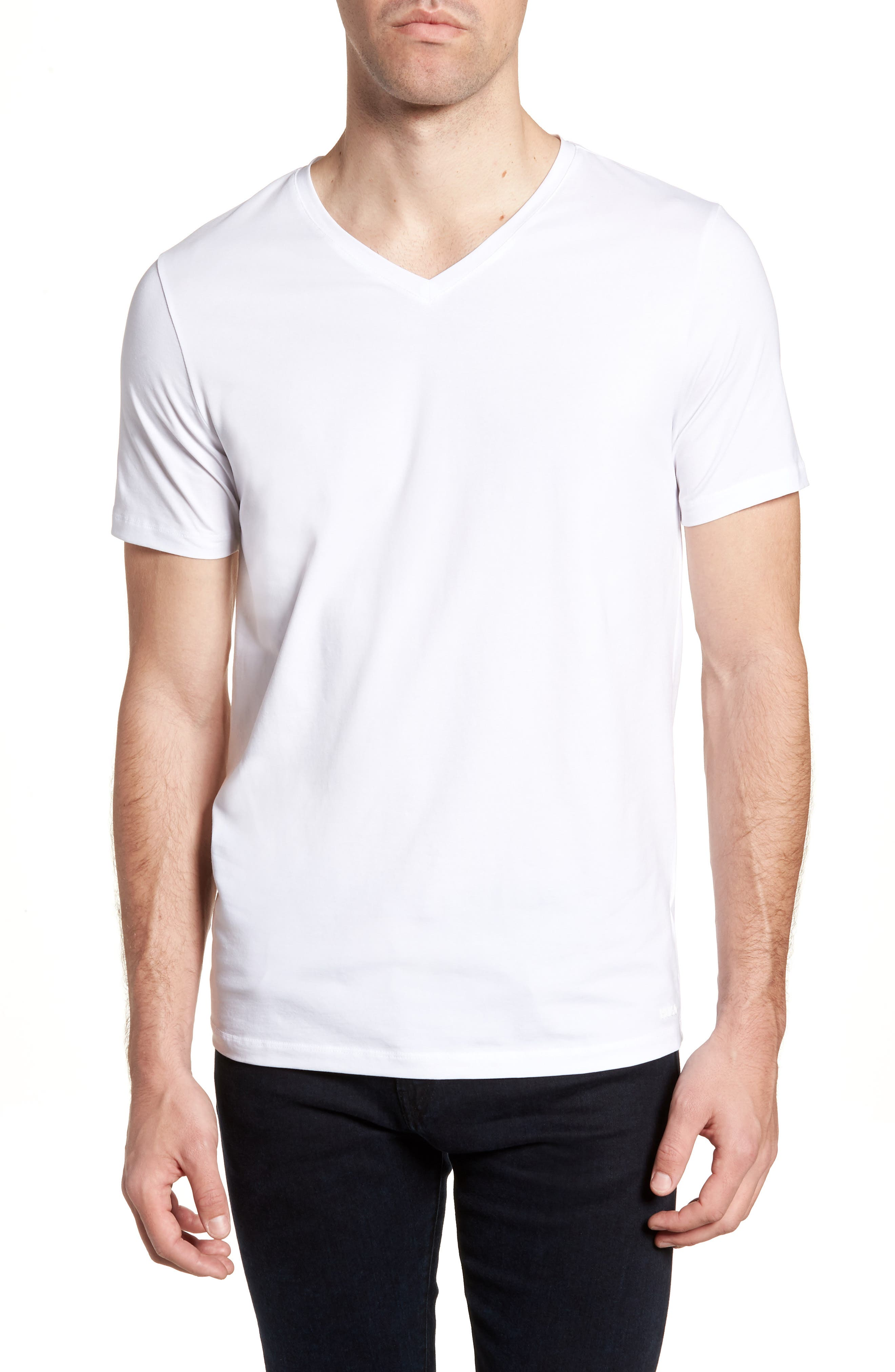 HUGO Dandre Slim Fit V-Neck T-Shirt,                             Main thumbnail 1, color,                             White