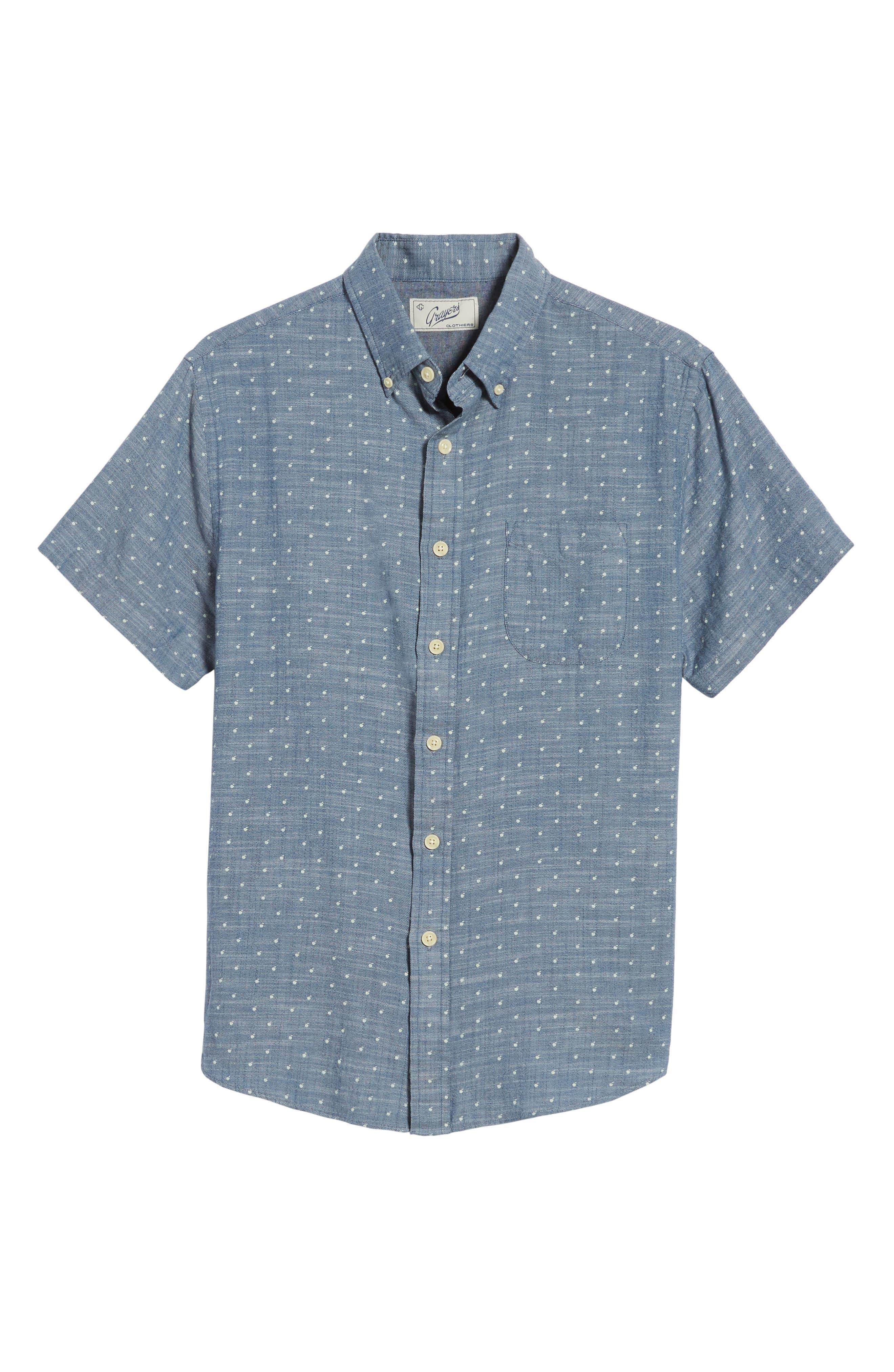 Falling Apple Slub Twill Sport Shirt,                             Alternate thumbnail 6, color,                             Blue Twill