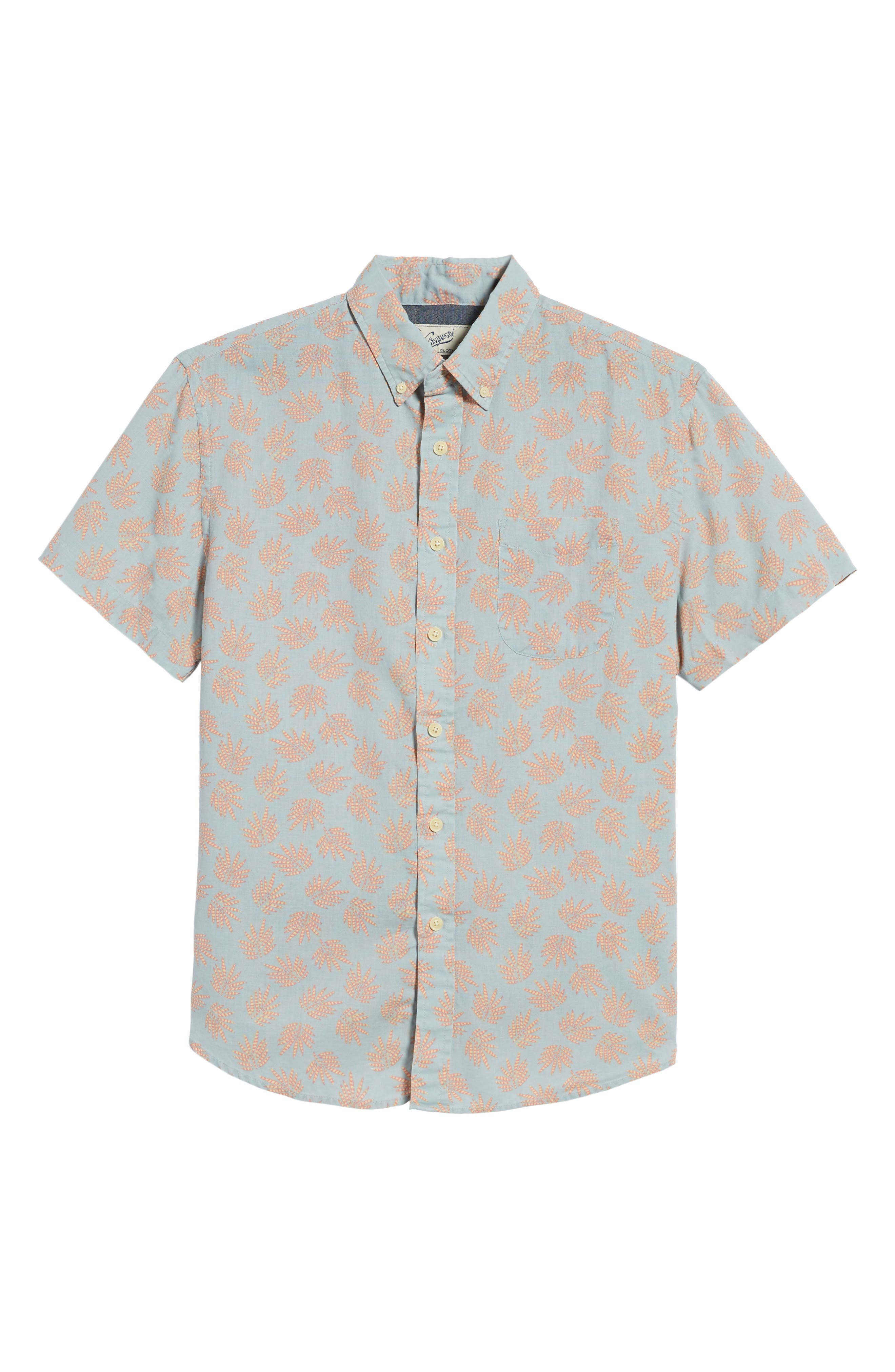 Palm Leaf Sport Shirt,                             Alternate thumbnail 6, color,                             Red Leaf On Blue