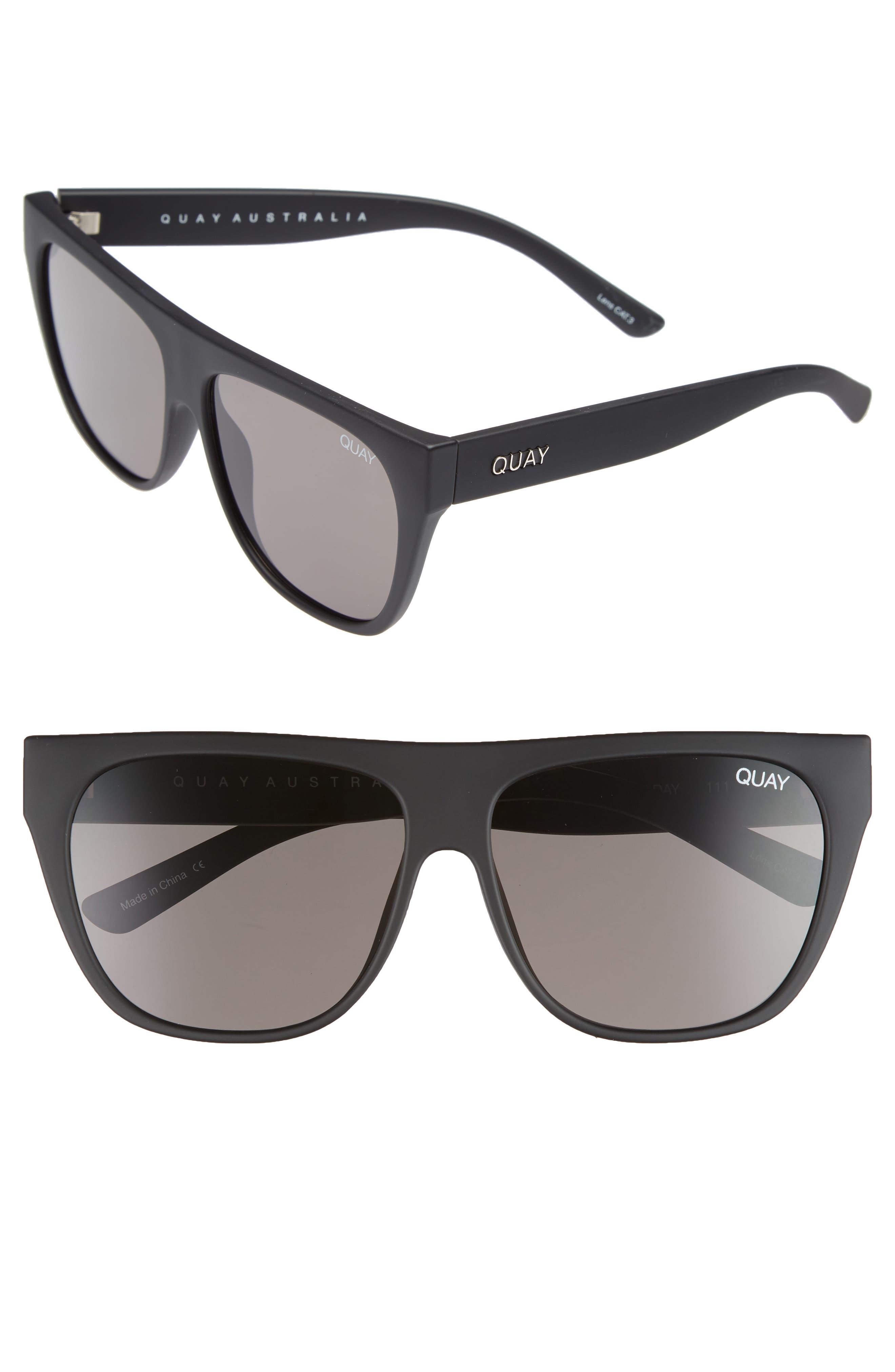 x Tony Bianco Drama by Day 55mm Square Sunglasses,                             Main thumbnail 1, color,                             Black/ Smoke