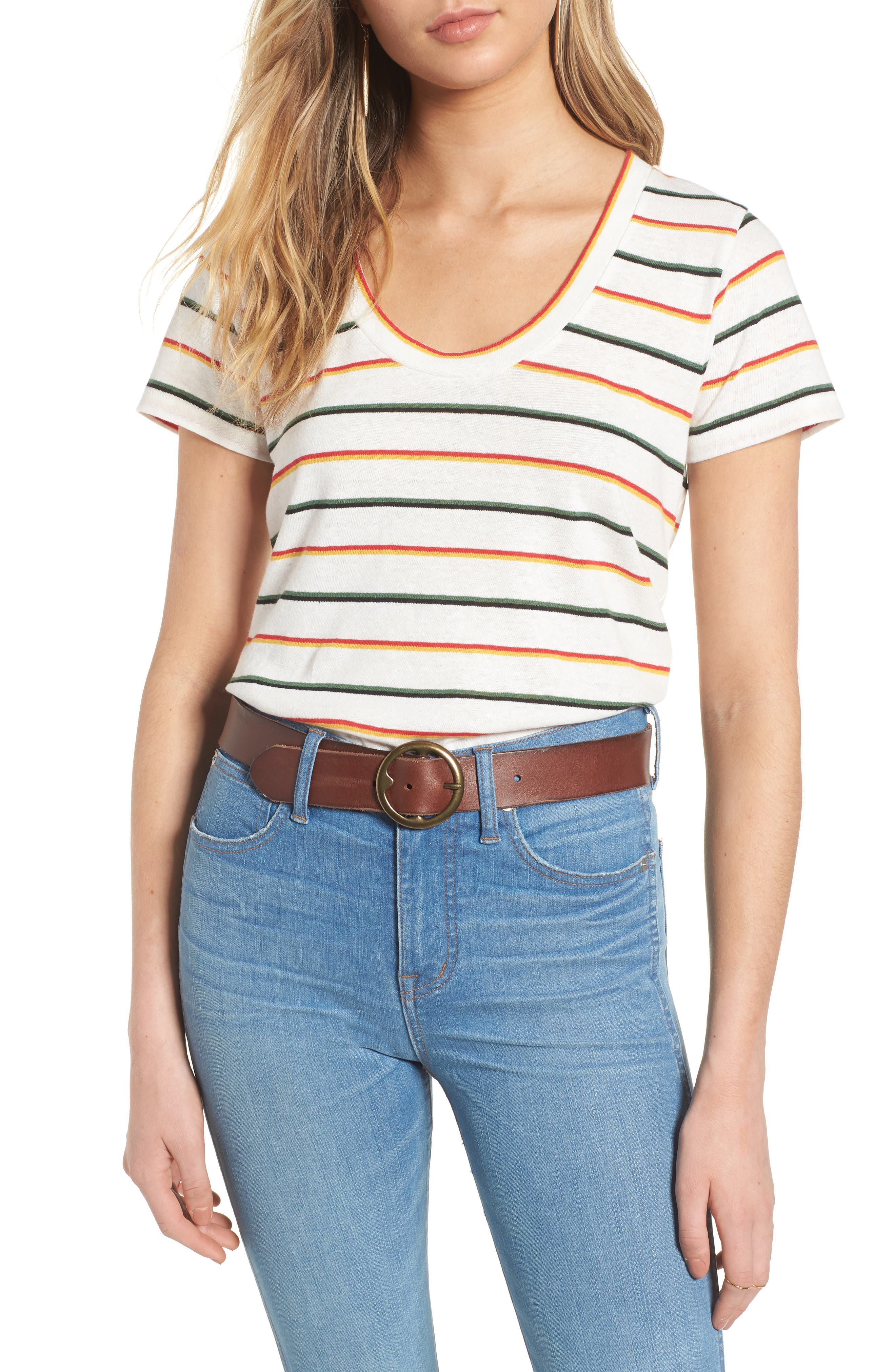 City Walcott Stripe Tee,                         Main,                         color, White Wash