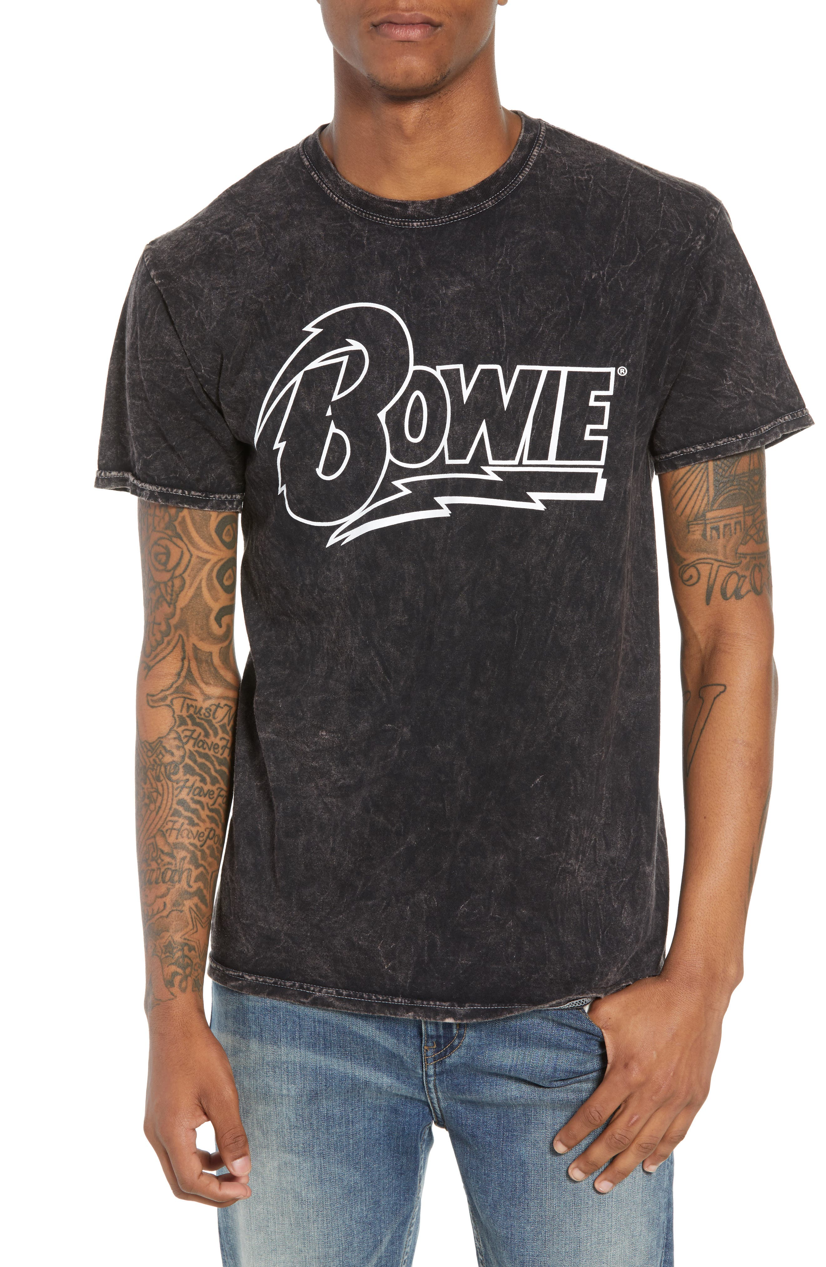 Bowie Acid Wash T-Shirt,                             Main thumbnail 1, color,                             Black Tee Bowie