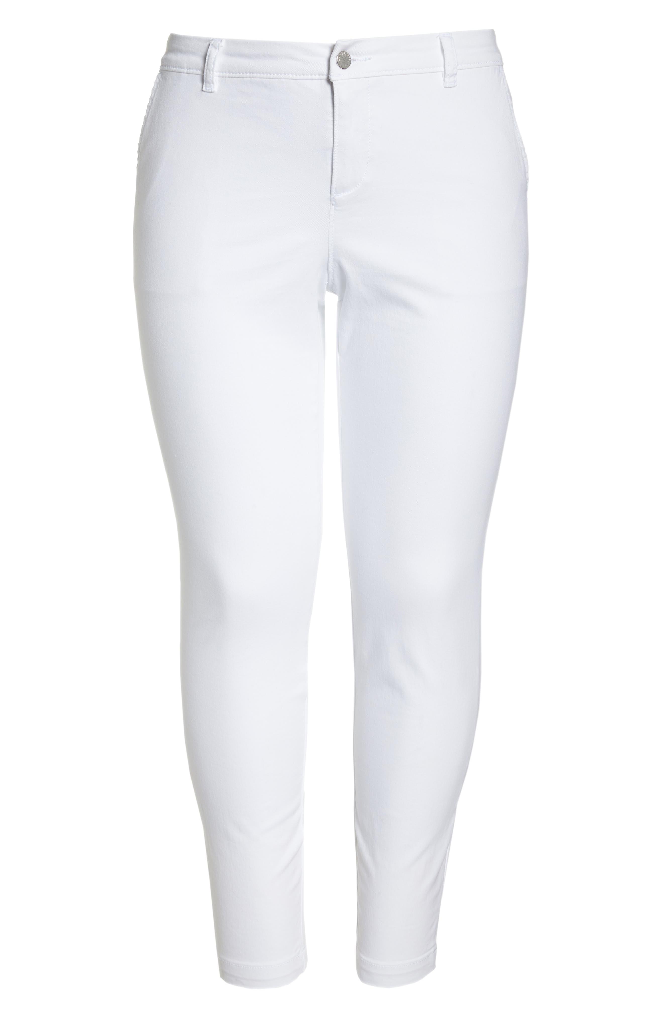 Boyfriend Stretch Cotton Chino Pants,                             Alternate thumbnail 7, color,                             White