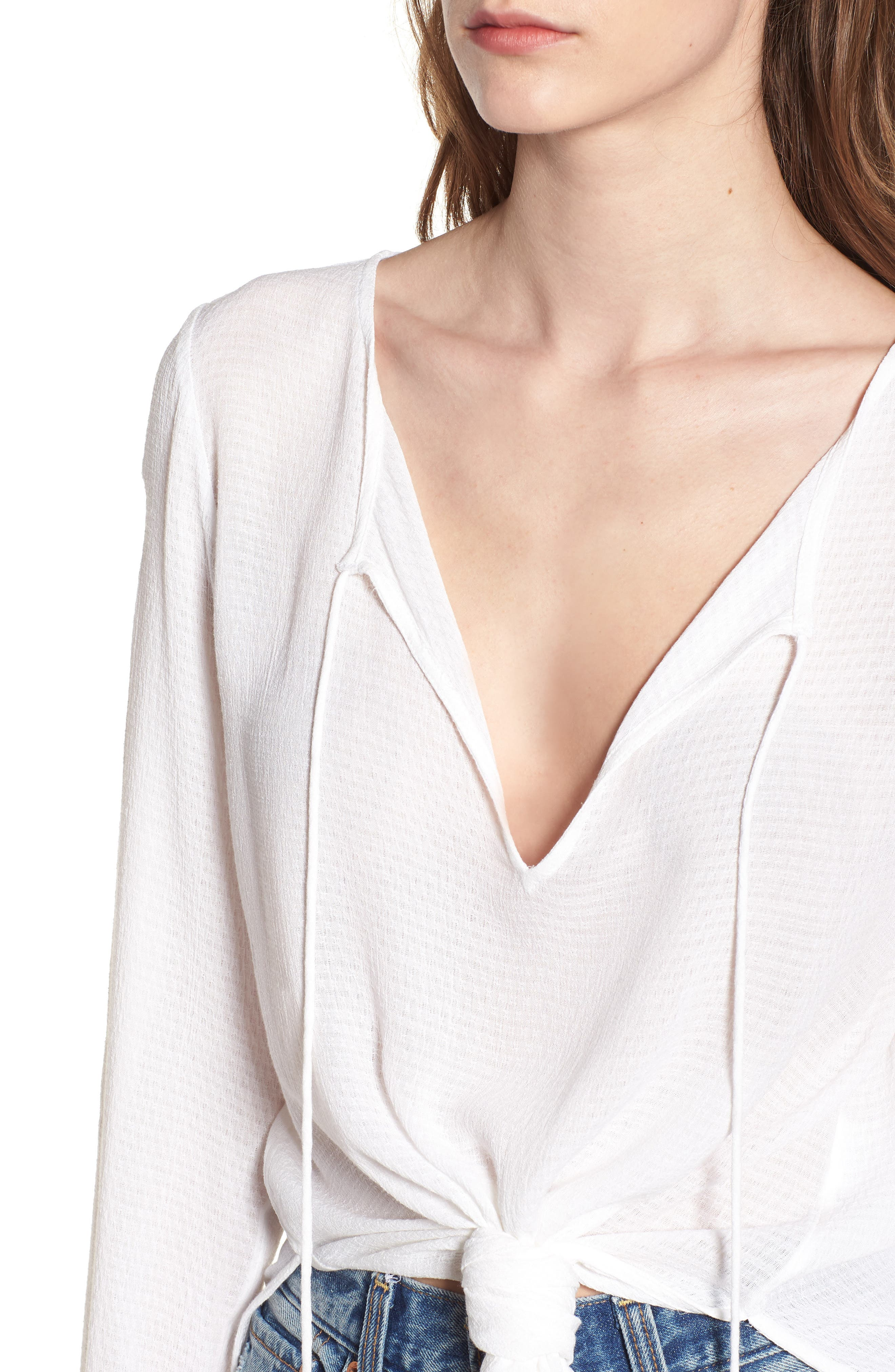 Houston Woven Tie Waist Top,                             Alternate thumbnail 4, color,                             White