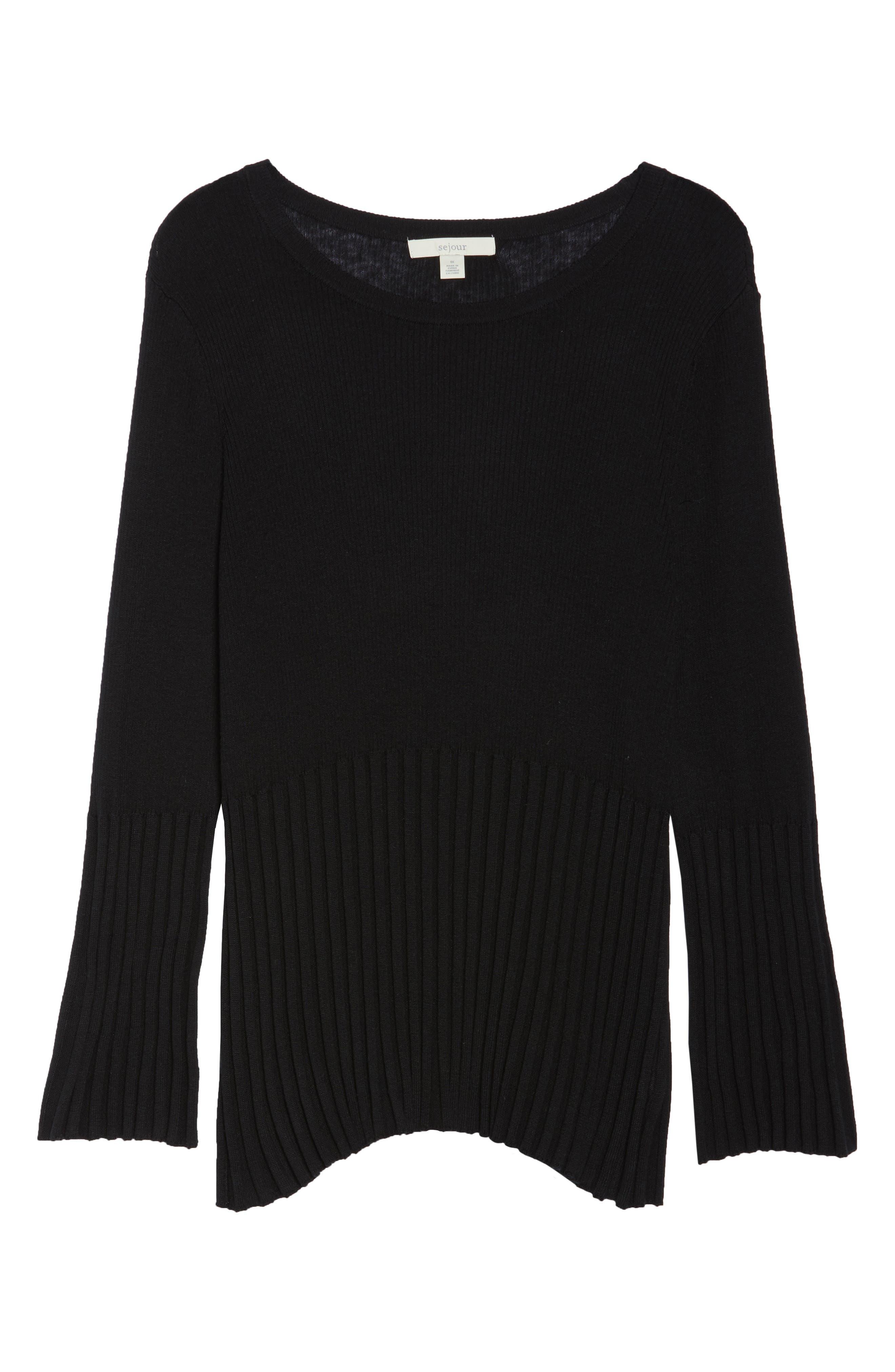 Ribbed Cotton Blend Sweater,                             Alternate thumbnail 7, color,                             Black